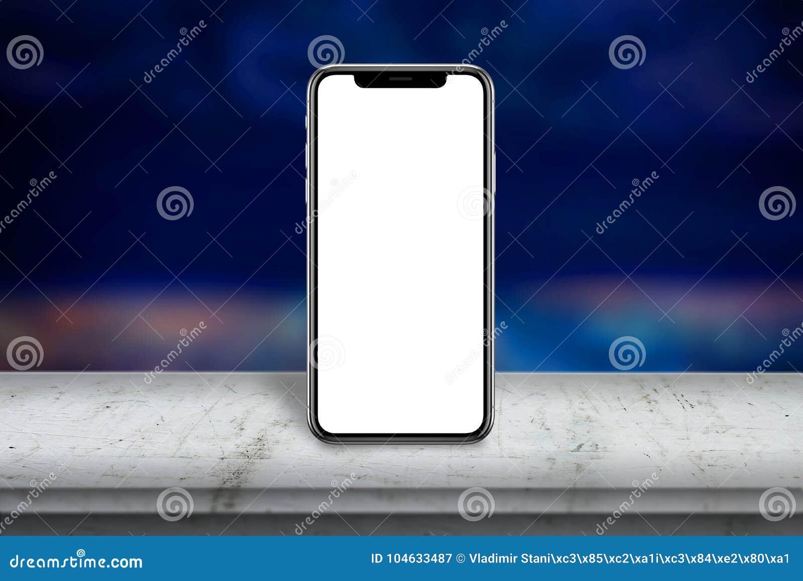 Download Moderne Slimme Telefoon Met X-het Scherm Op Witte Houten Lijst Het Lege Scherm Voor Model Stock Afbeelding - Afbeelding bestaande uit bevordering, ervaring: 104633487