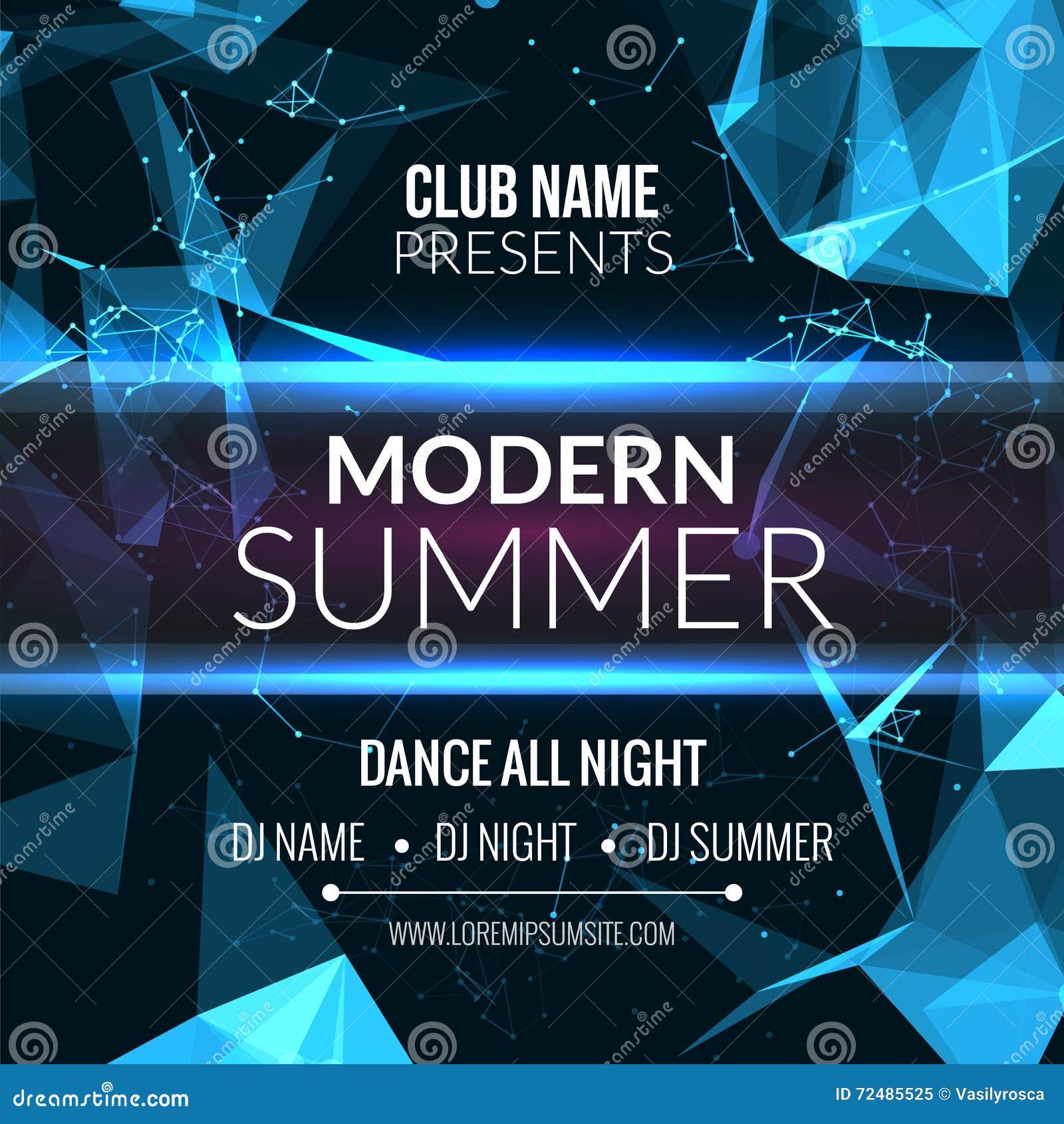 Moderne Sommer-Verein-Musik-Partei-Schablone, Tanzparty-Flieger ...