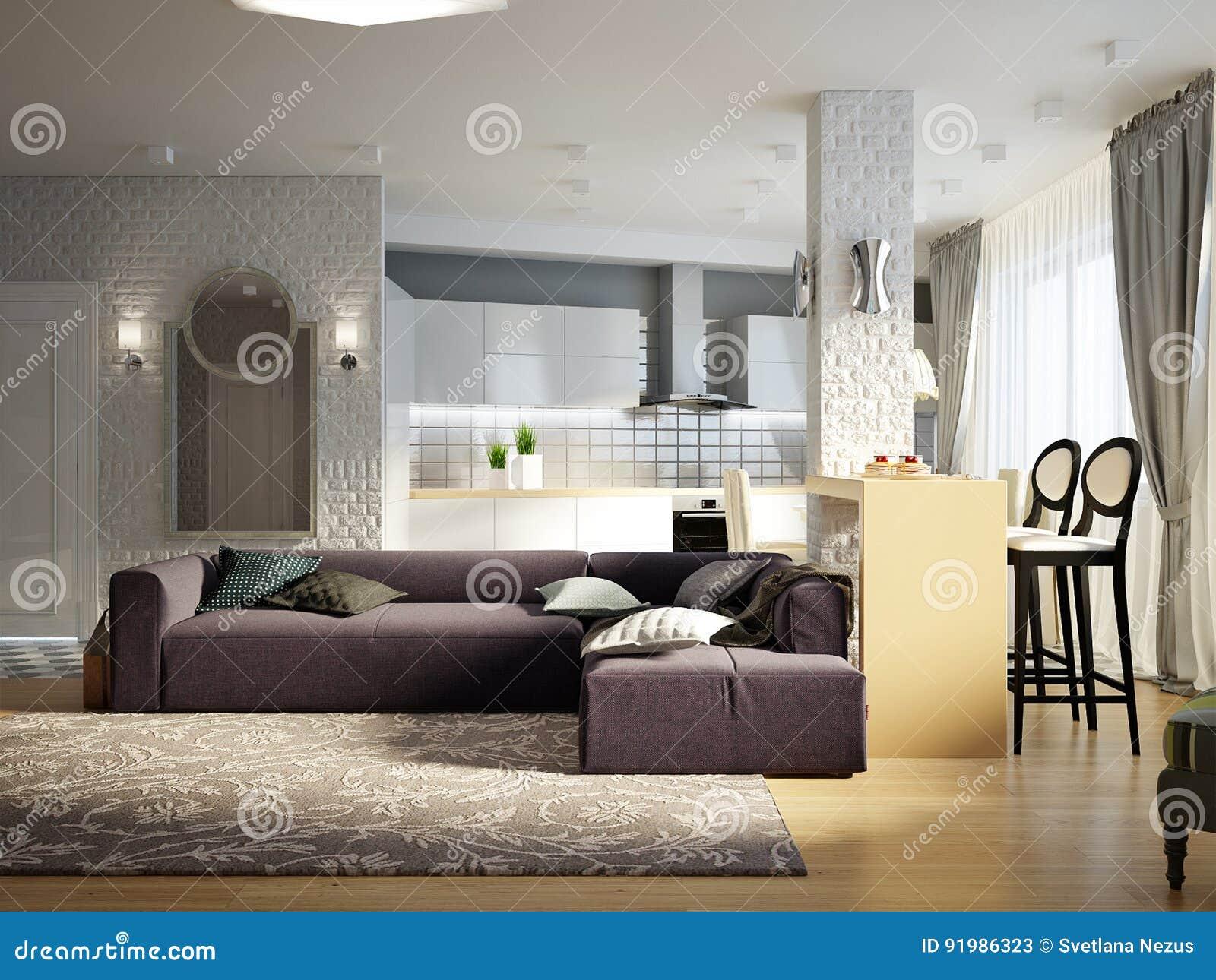 Moderne stedelijke eigentijdse studio open woonkamer eetkamer