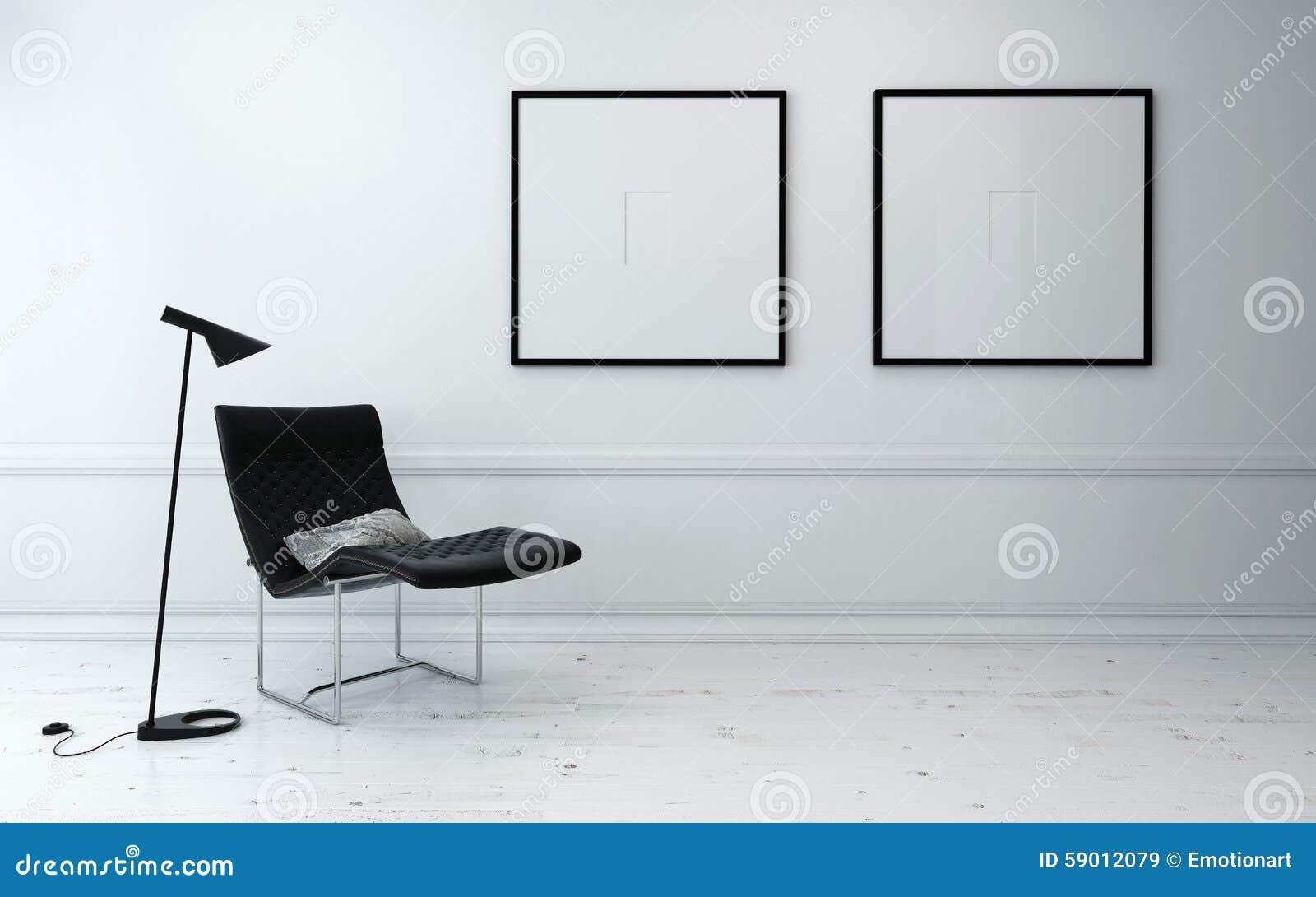 Moderne stoel en staande lamp in witte zaal stock afbeelding