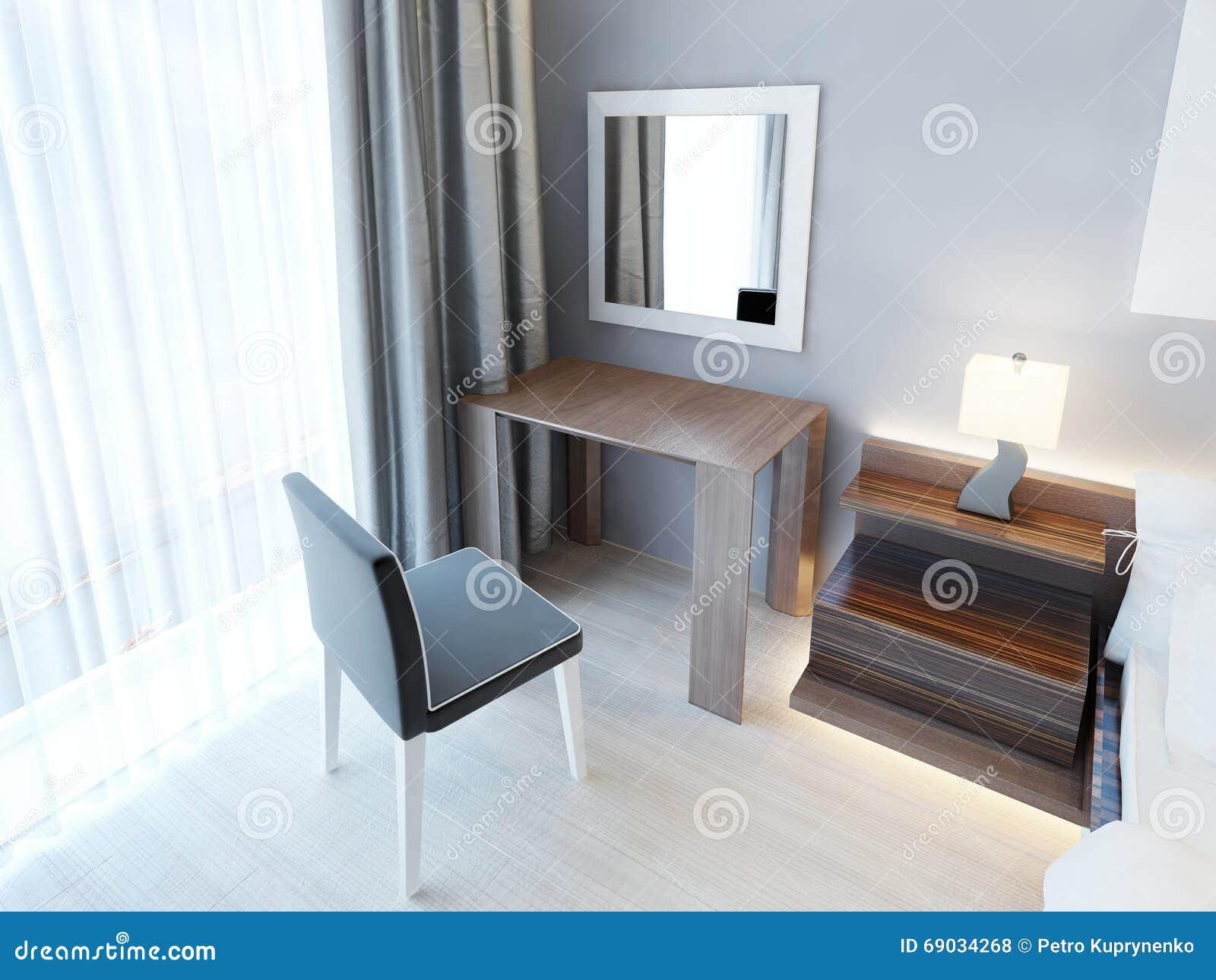 Toilettafel Met Spiegel.Moderne Toilettafel Met Stoel En Spiegel Stock Illustratie