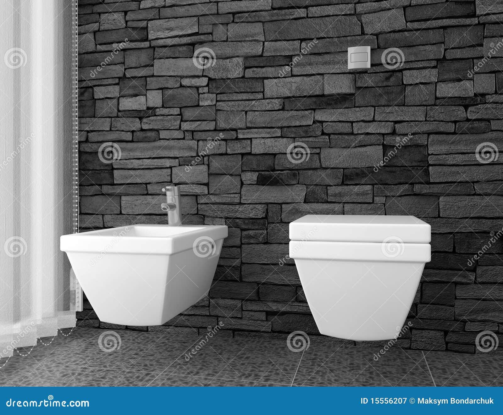 moderne toilette mit schwarzer steinwand lizenzfreie stockfotografie bild 15556207. Black Bedroom Furniture Sets. Home Design Ideas