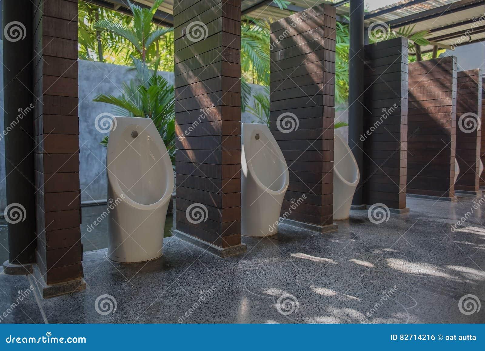 Moderne Toilette Mit Toilettenreihe Im Garten Stockfoto Bild Von