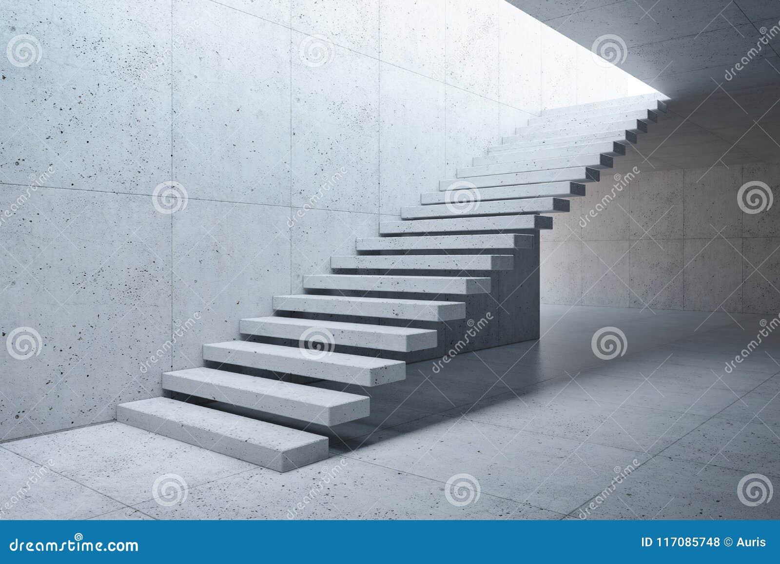 Moderne trap in concreet binnenland stock illustratie