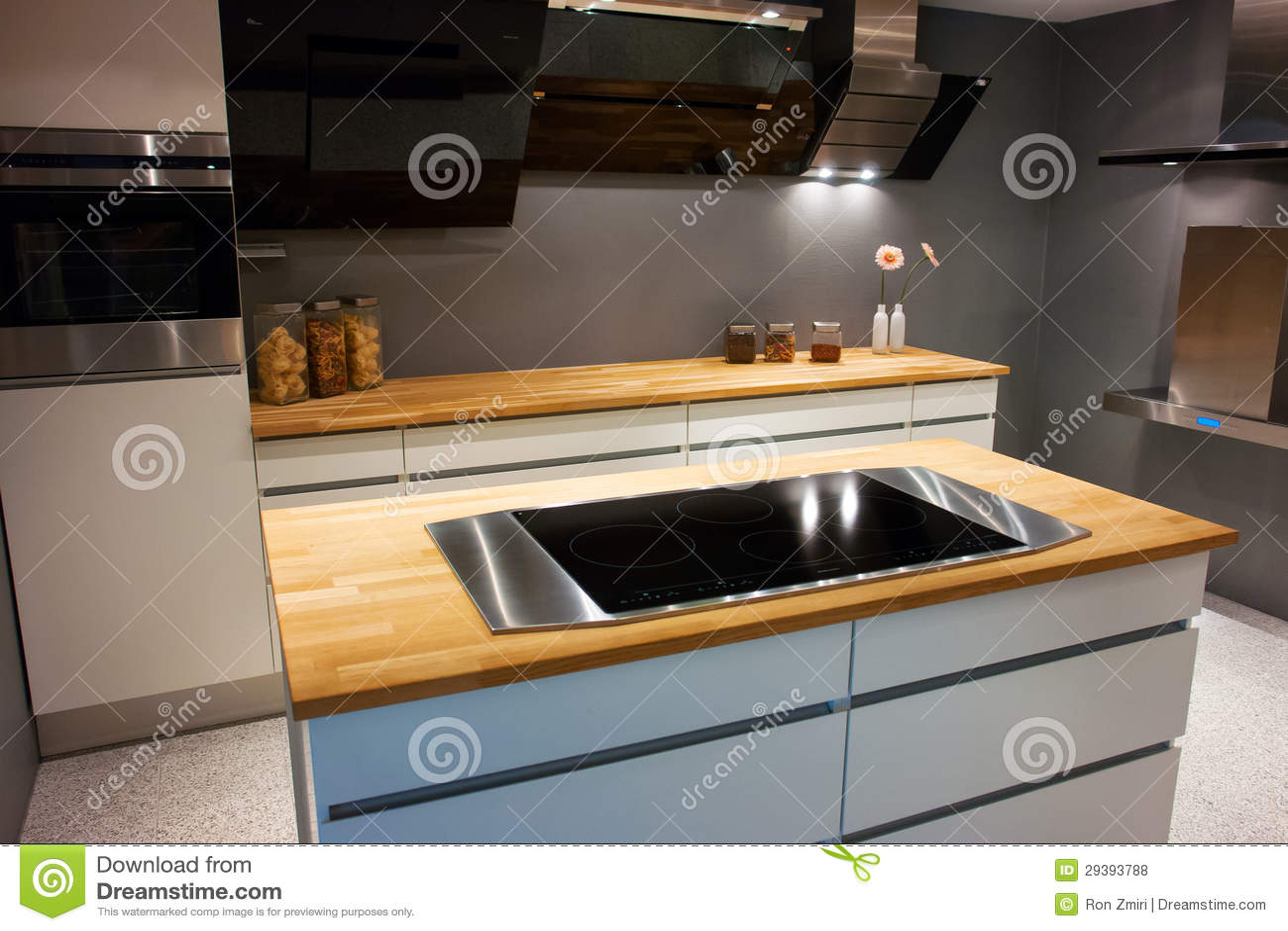Moderne Trendy Ontwerp Witte Houten Keuken Royalty-vrije Stock ...