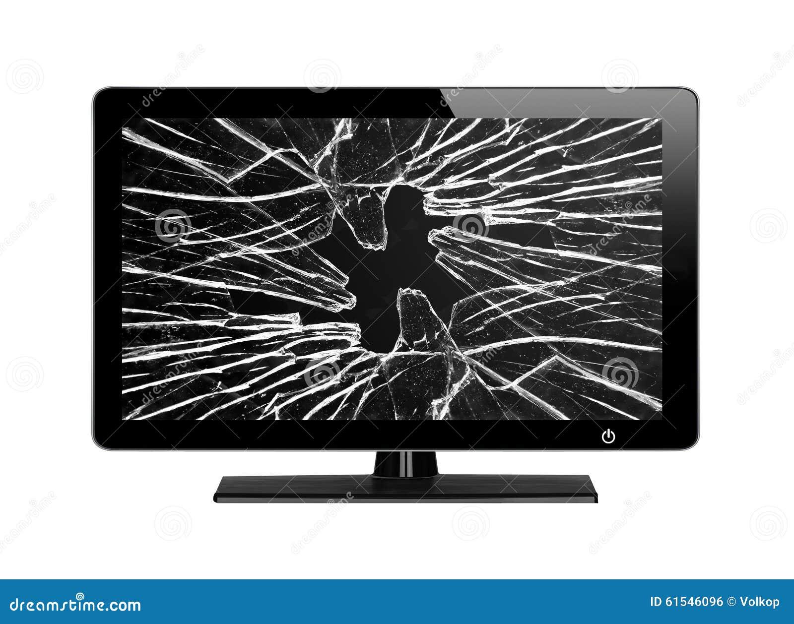 Moderne Tv Met Het Gebroken Die Scherm Op Wit Wordt Ge Soleerd  # Television Moderne