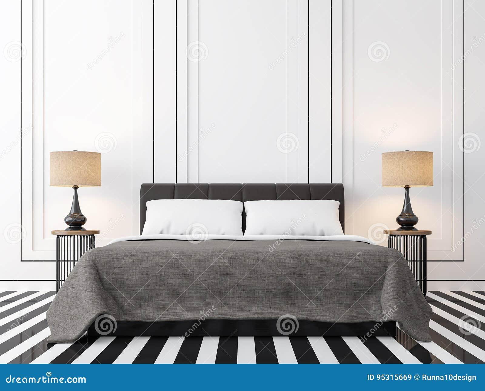 Slaapkamer Bruin Wit : Moderne uitstekende slaapkamer met zwart wit d teruggevend beeld