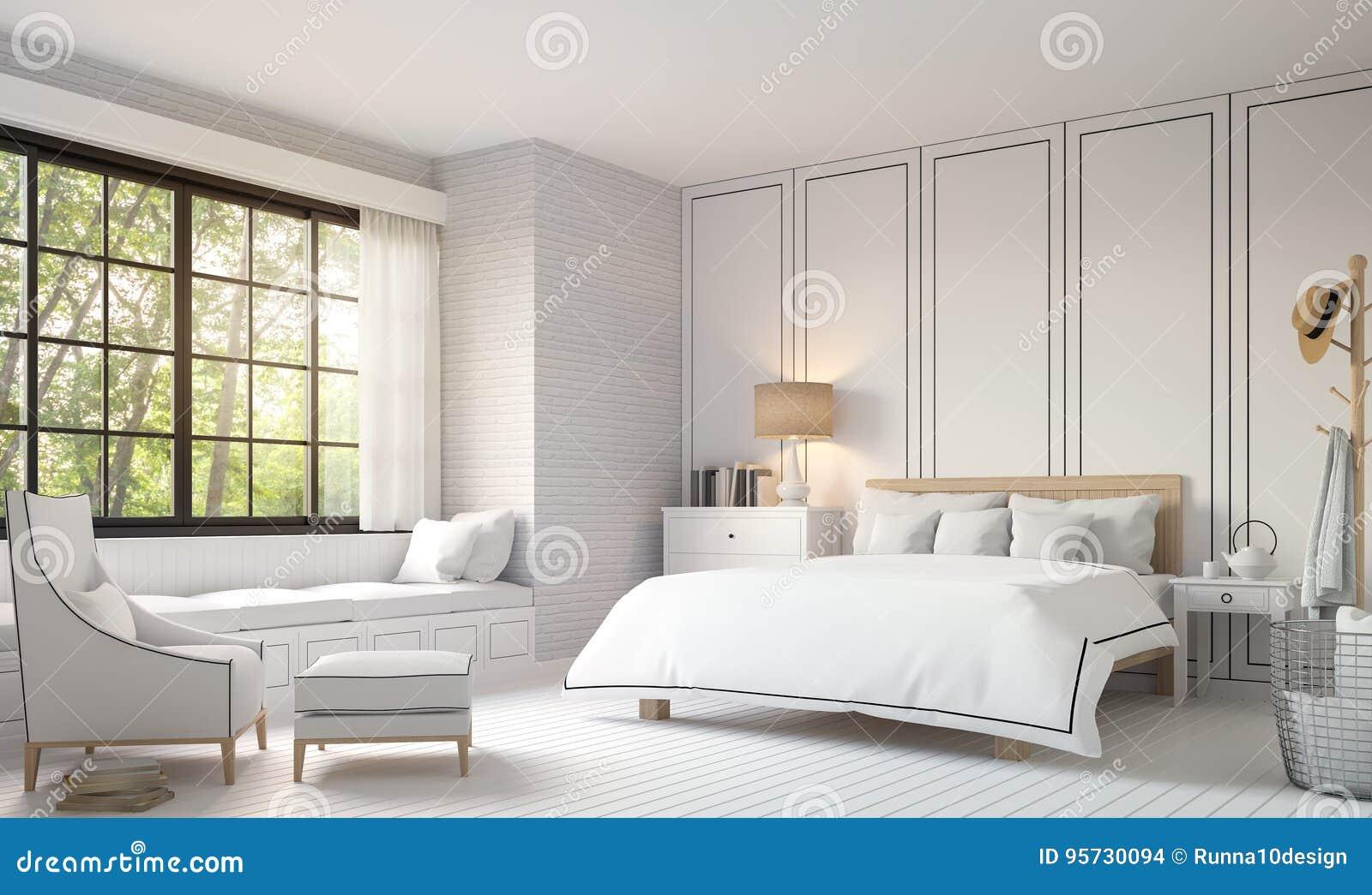Moderne uitstekende slaapkamer met zwart wit d teruggevend beeld
