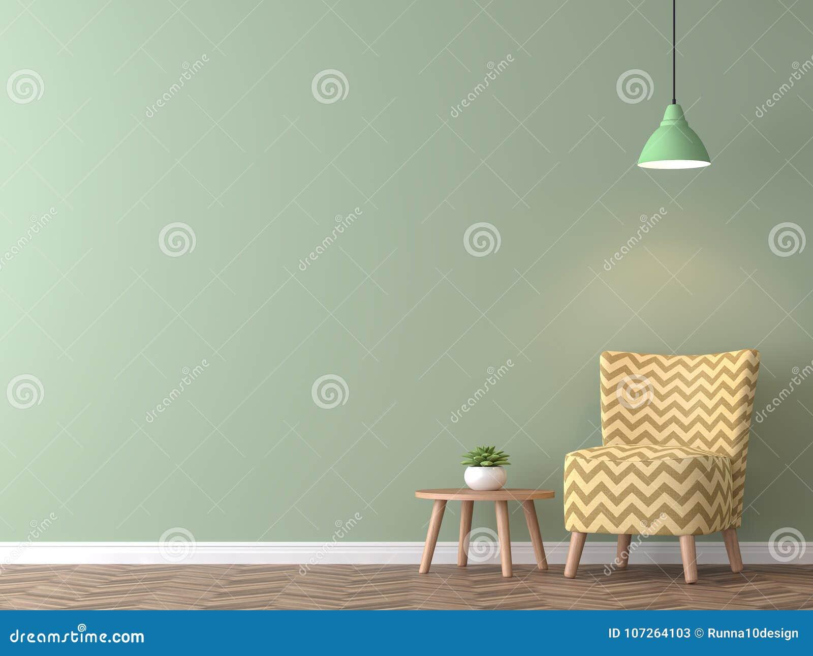 Groene Muur Woonkamer : Moderne uitstekende woonkamer met het groene muur 3d teruggeven