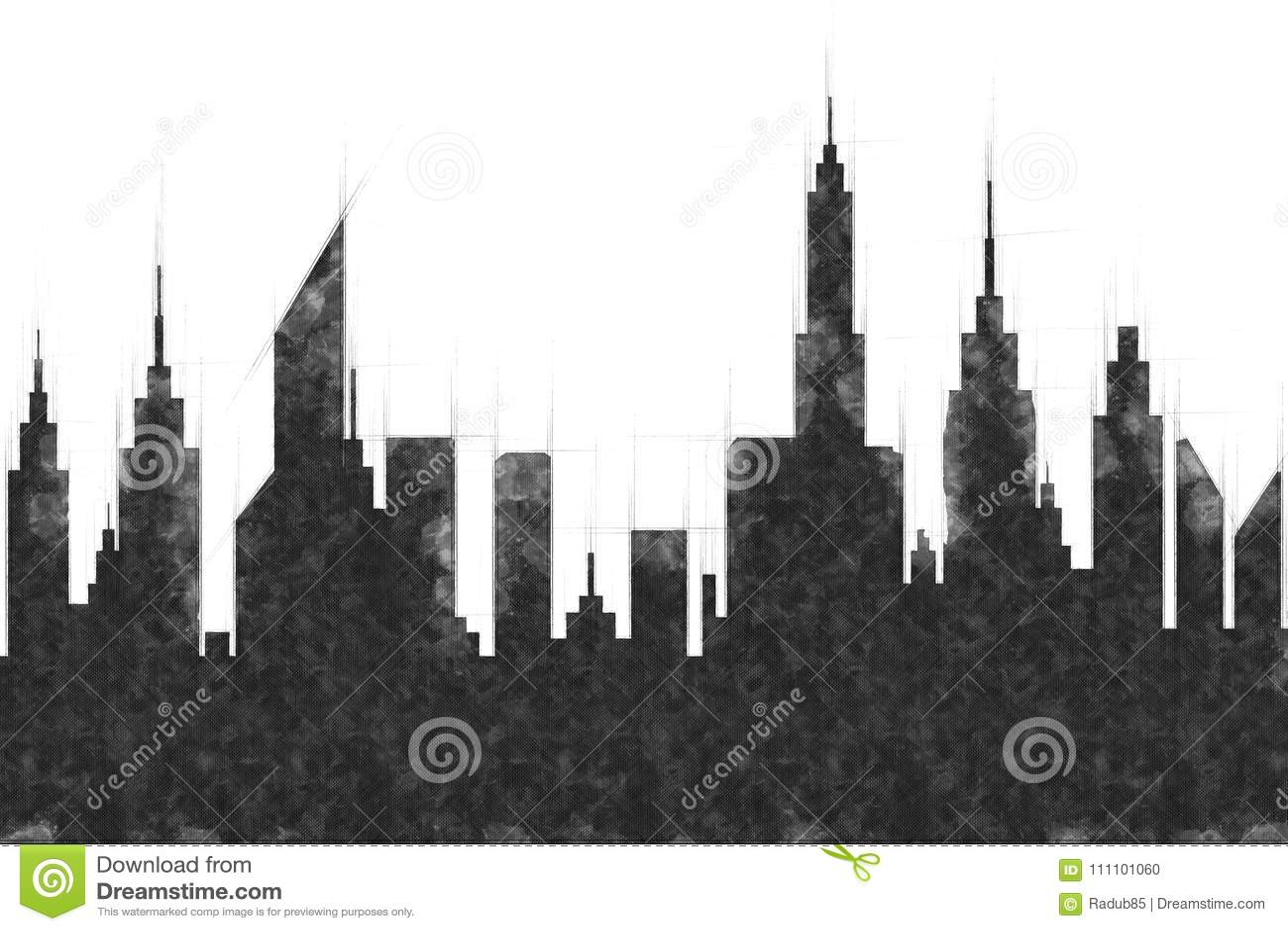 Moderne van de Stadsgebouwen en Wolkenkrabber Schets