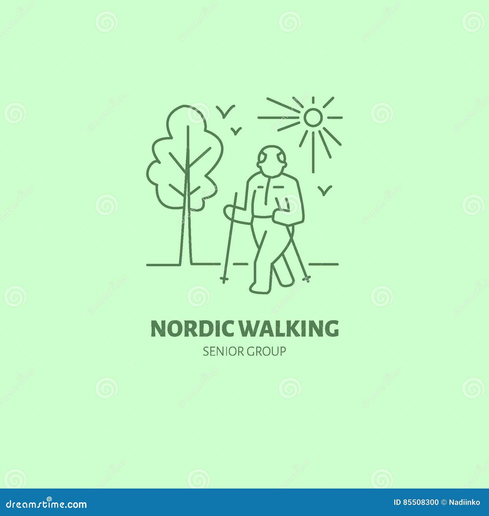 Moderne Vektorlinie Ikone des nordischen Gehens Lineares Logo der älteren Sportgruppe Entwurfssymbol für ältere Freizeit Alte Män