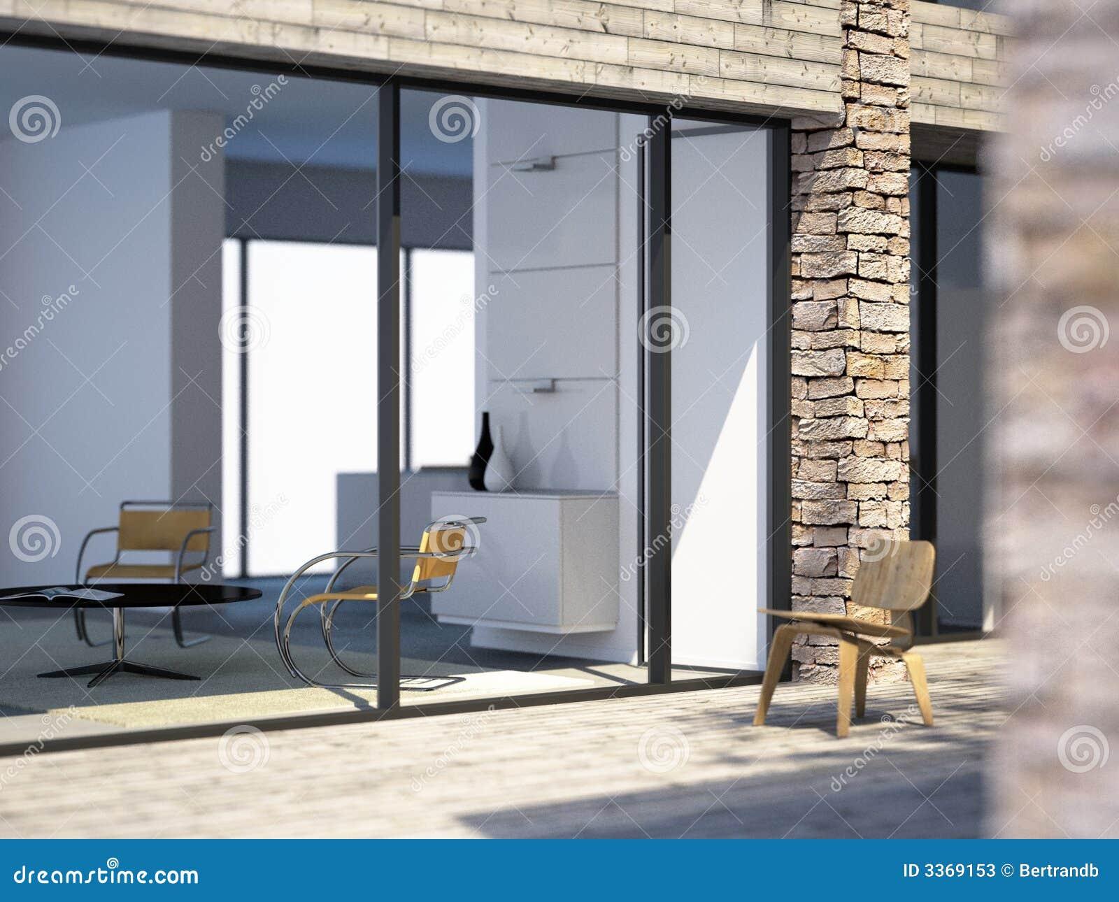 Moderne villa door het overzees stock illustratie afbeelding 3369153 - Foto gevel moderne villa ...