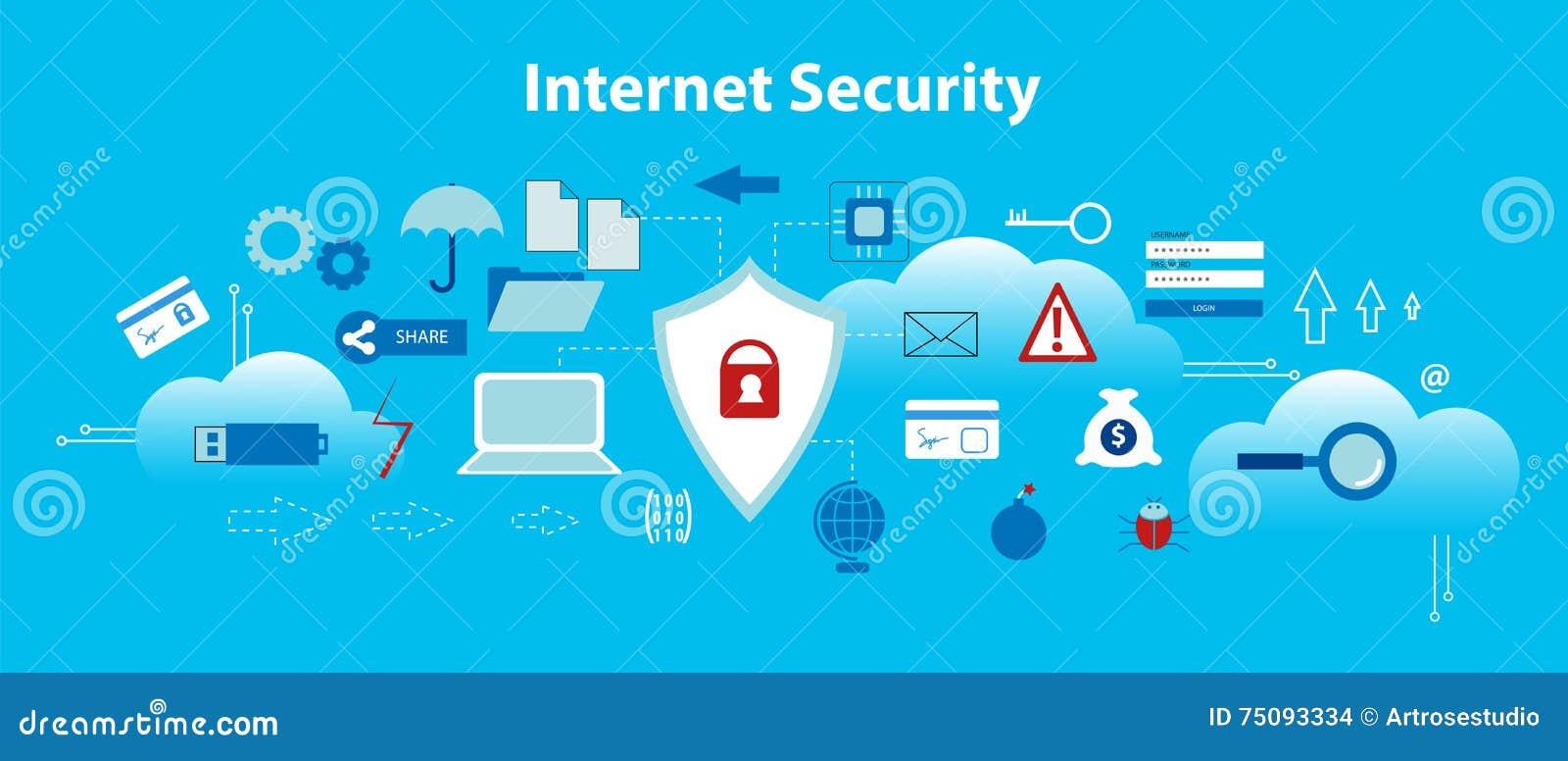Moderne vlakke ontwerp vectorillustratie, infographic concept Internet-veiligheid, veilige online en gegevensbescherming