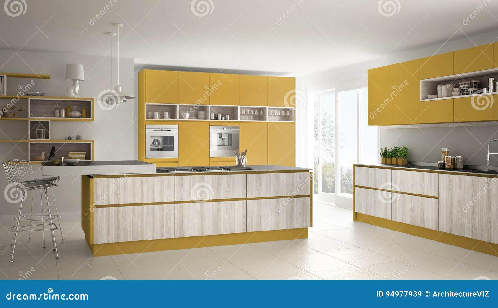 Moderne Weiße Küche Mit Den Hölzernen Und Gelben Details ...