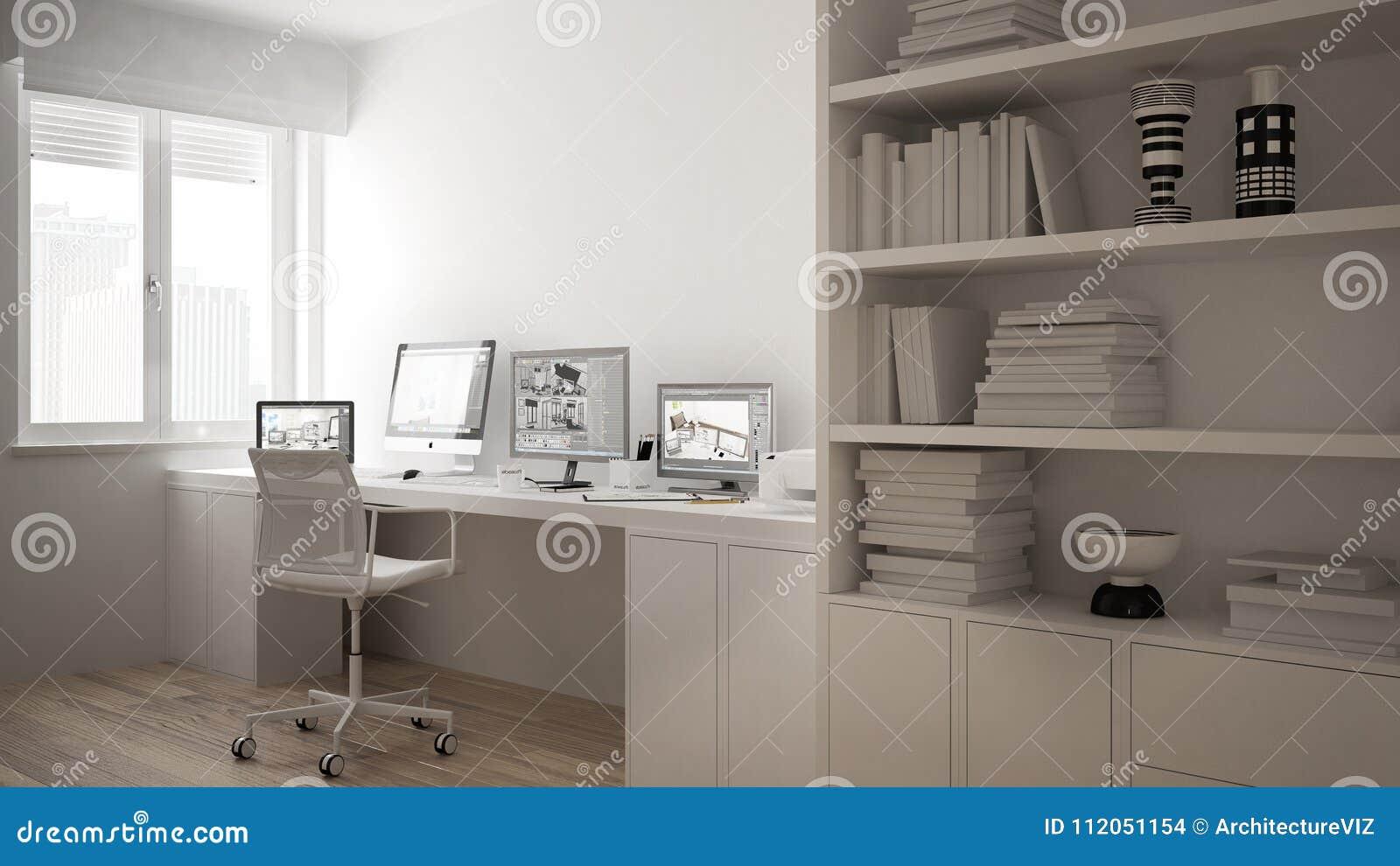 Moderne werkplaats in minimalistisch huis, bureau met computers, groot boekenrek, comfortabel wit architectuurbinnenland