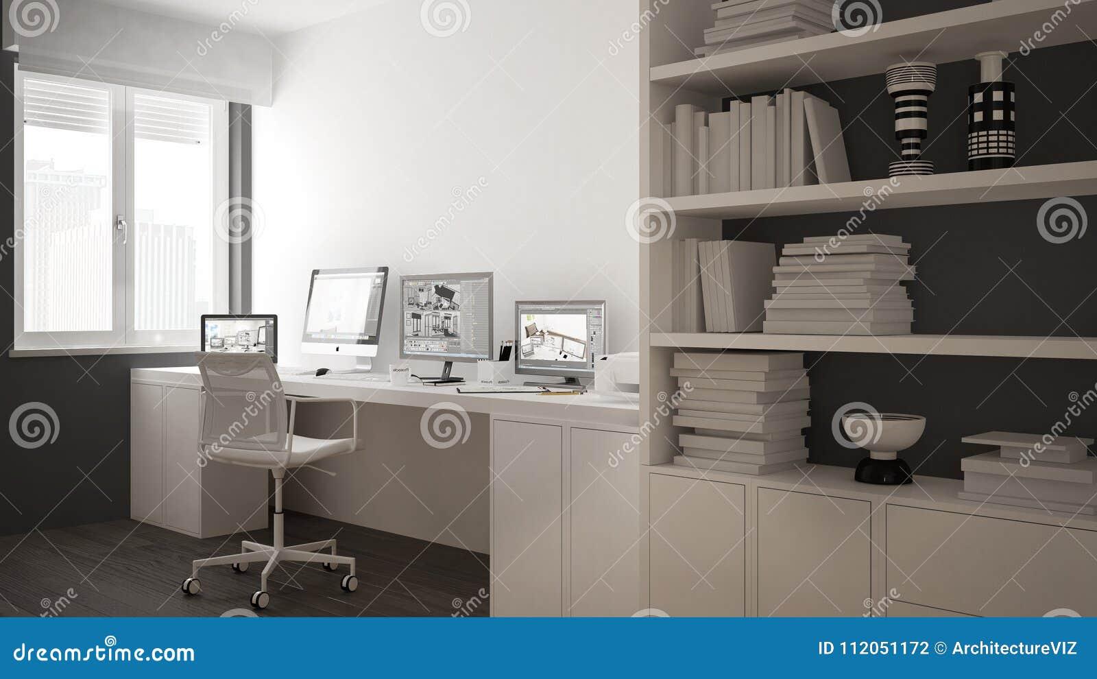 Moderne werkplaats in minimalistisch huis, bureau met computers, groot boekenrek, comfortabel wit en grijs architectuurbinnenland