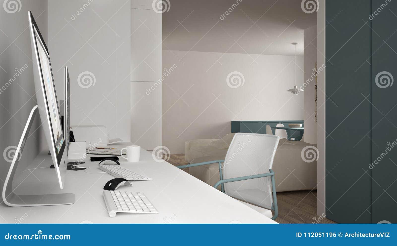 Moderne werkplaats in minimalistisch huis, bureau met computers, sleutelwoorden en muis, comfortabel wit en blauw architectuurbin