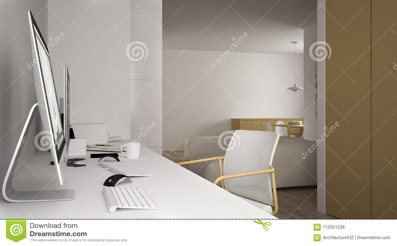 Moderne werkplaats in minimalistisch huis, bureau met computers, sleutelwoorden en muis, comfortabel wit en geel architectuurbinn