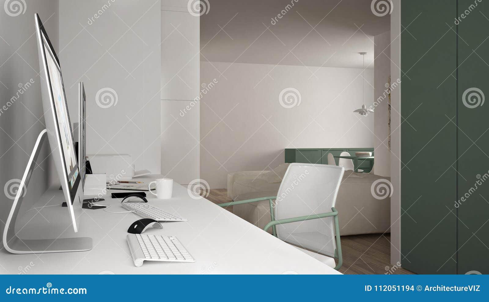 Moderne werkplaats in minimalistisch huis, bureau met computers, sleutelwoorden en muis, comfortabel wit en groen architectuurbin