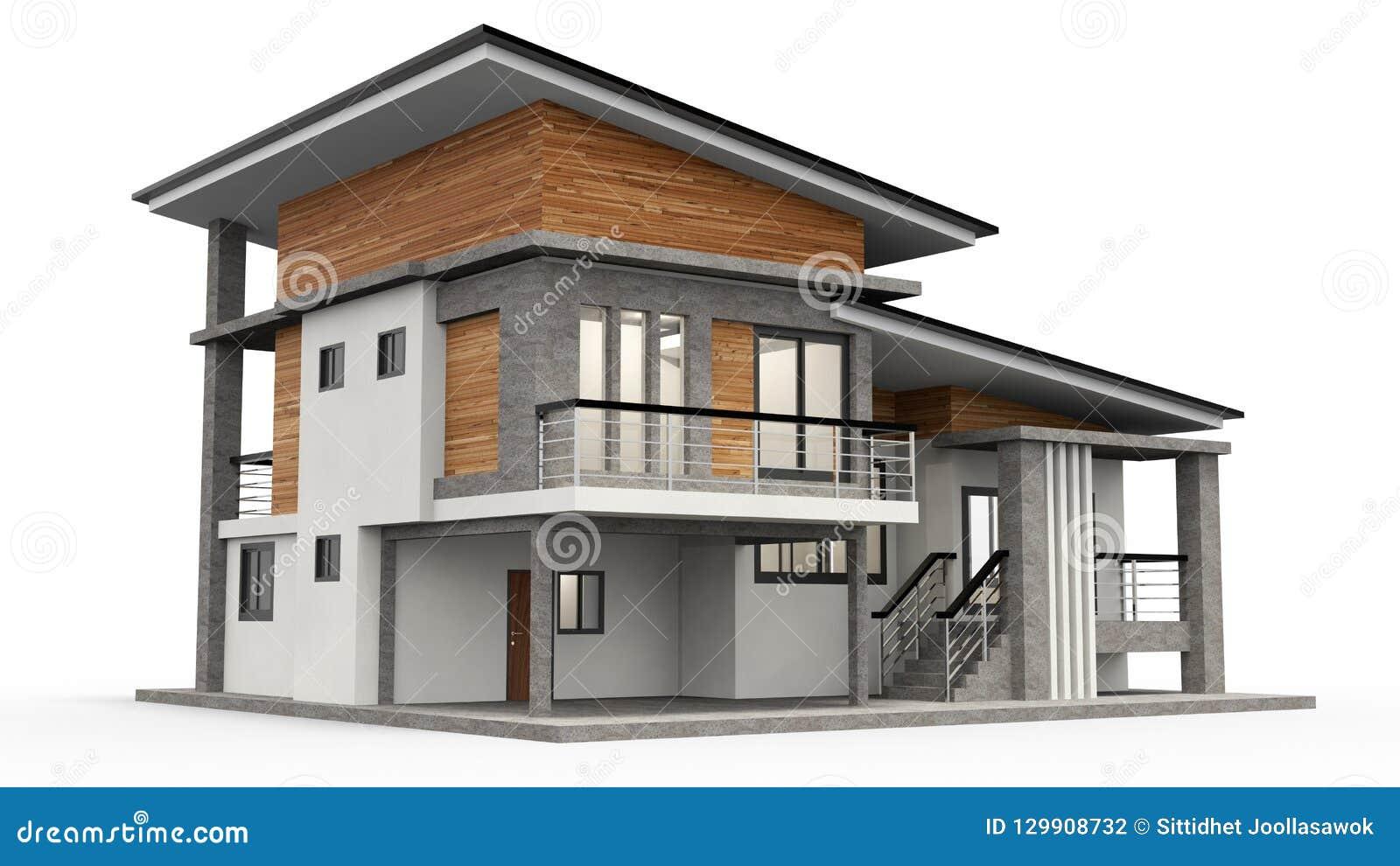 Moderne Wiedergabe des Hauses 3d auf weißem Hintergrund
