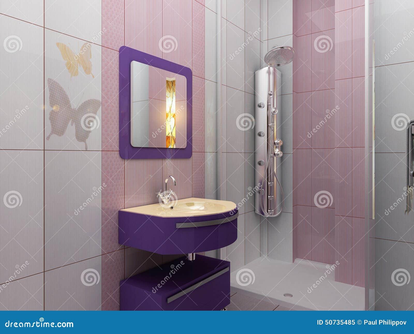 Moderne witte en roze badkamers met douche stock afbeelding