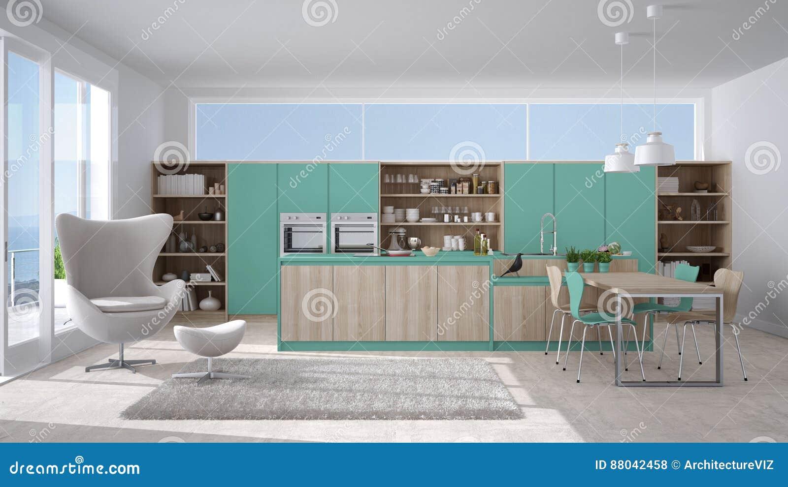Moderne witte en turkooise keuken met houten details grote wind stock illustratie afbeelding - Witte keuken en hout ...