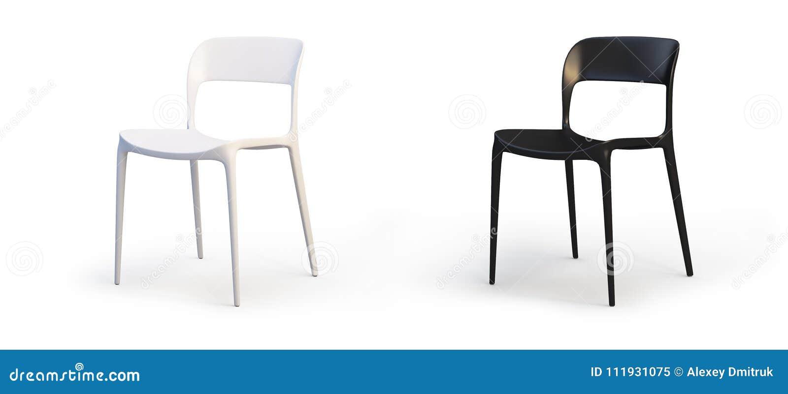 Moderne Witte Stoelen.Moderne Witte En Zwarte Stoelen 3d Geef Terug Stock Illustratie