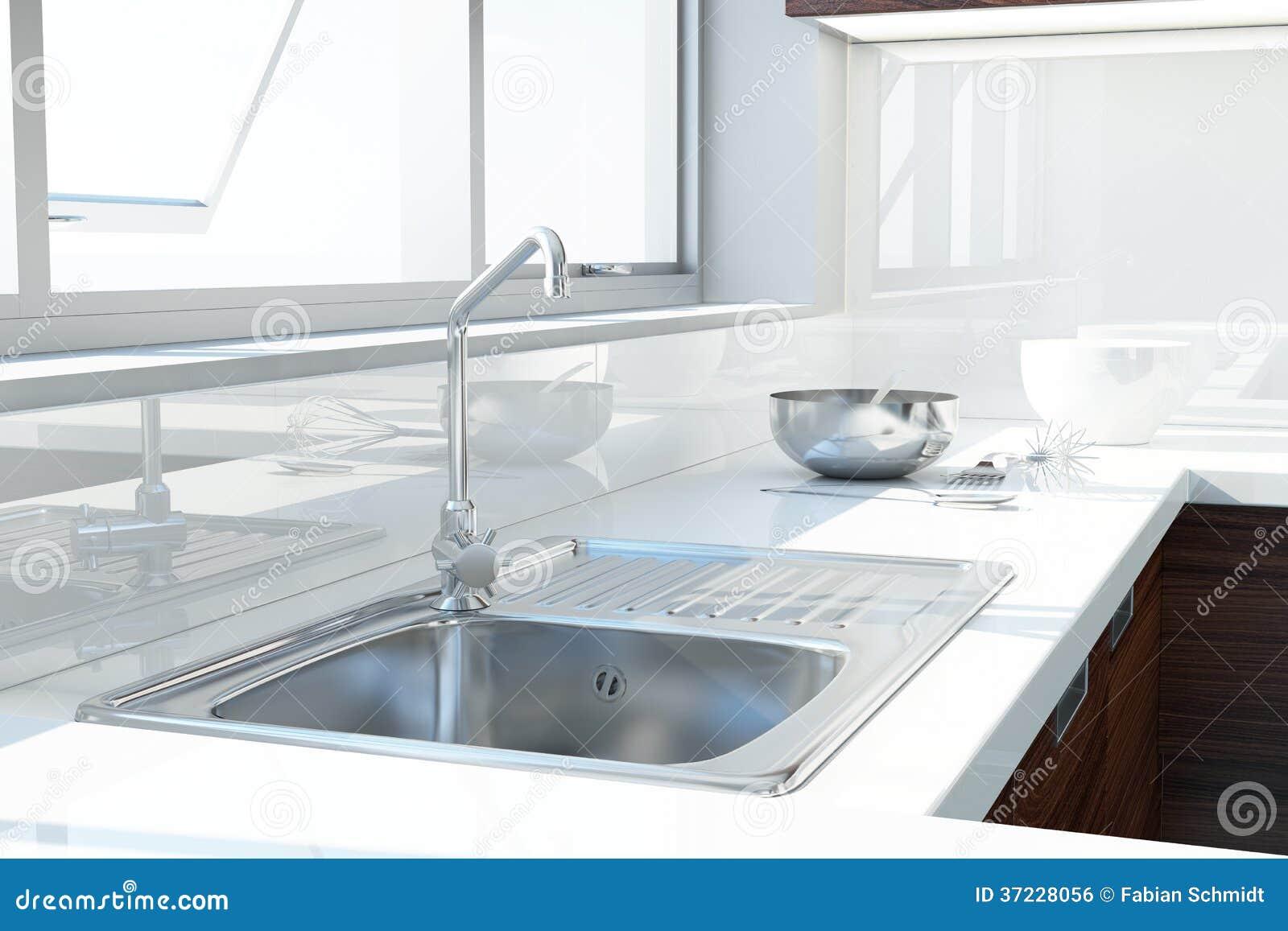 Moderne witte keuken royalty vrije stock afbeelding   afbeelding ...