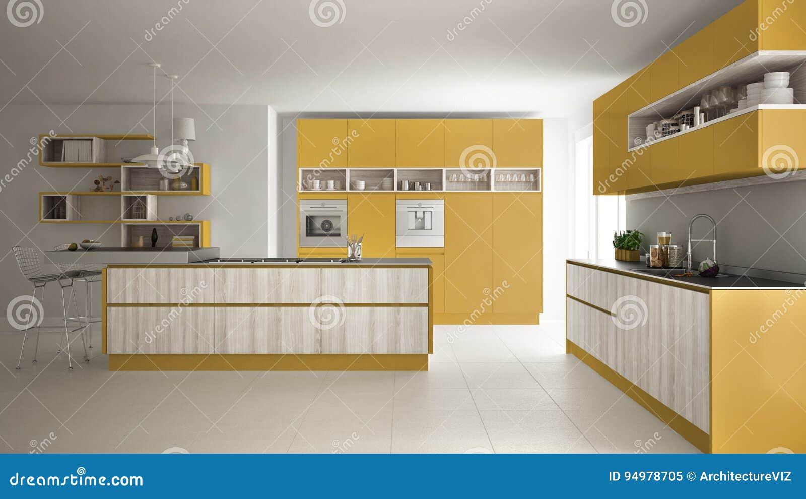 Gele Keuken 9 : Moderne witte keuken met houten en gele details minimalisti stock