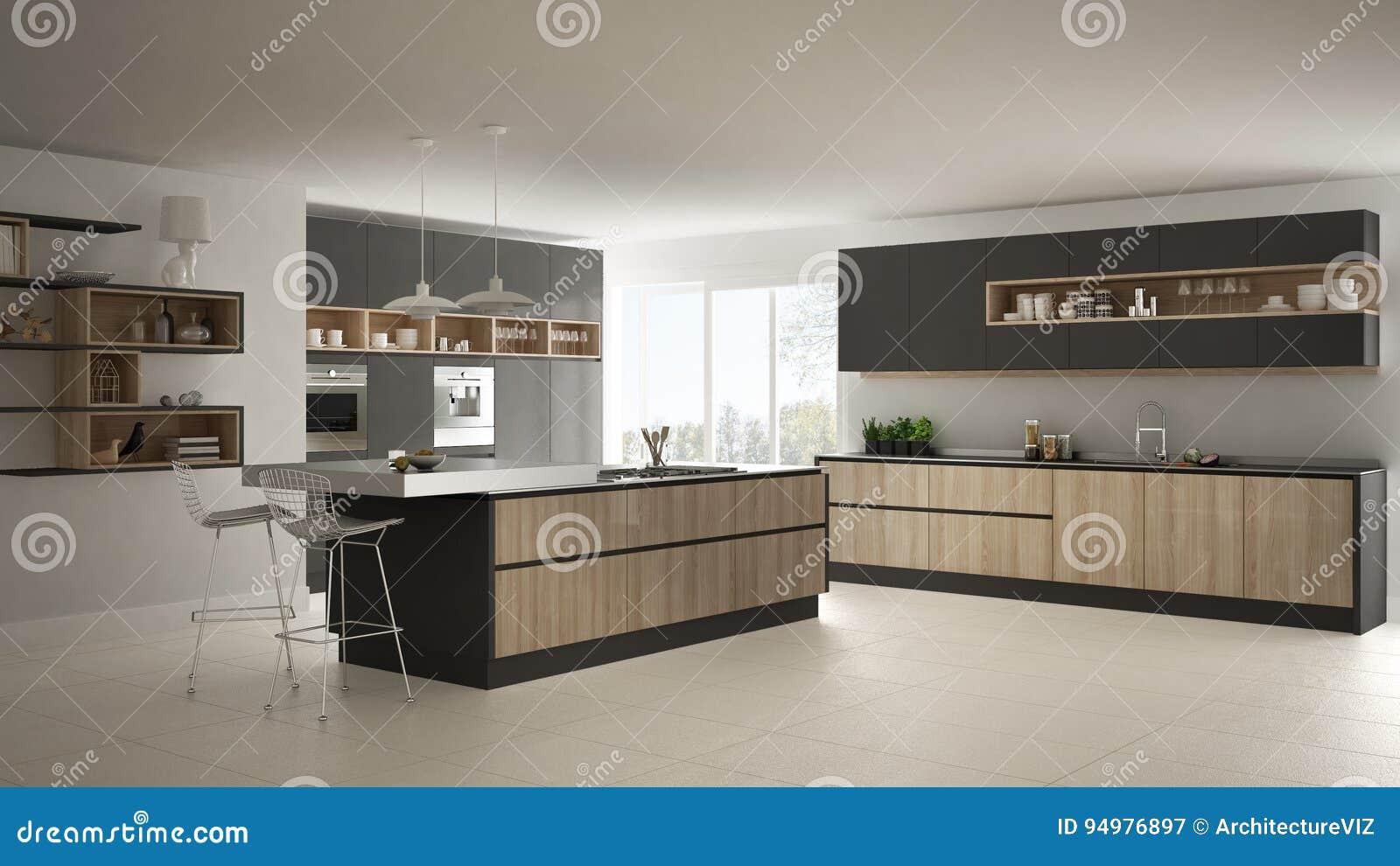 Moderne witte keuken met houten en grijze minimalistic details