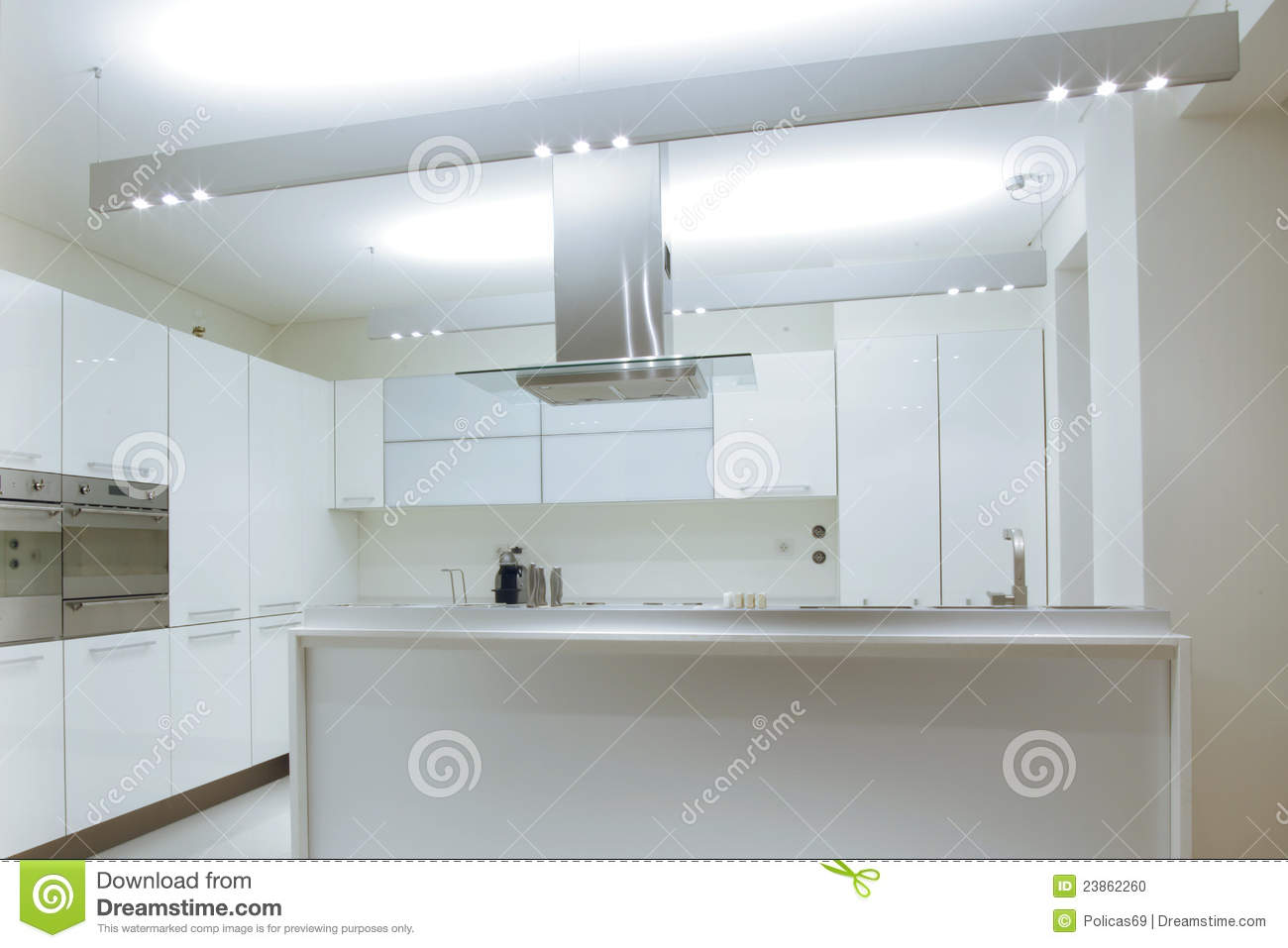 Stock foto: modern white kitchen with wood floor. afbeelding: 23862260