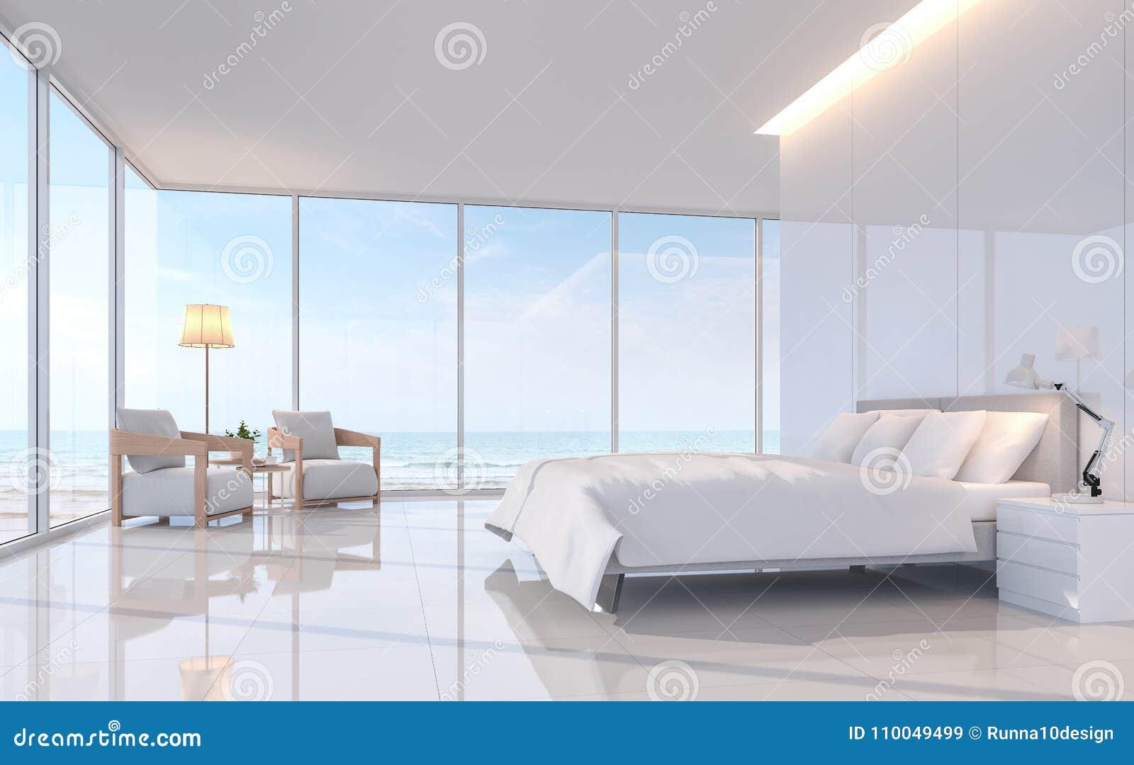 Moderne witte slaapkamer met overzees menings 3d teruggevend beeld