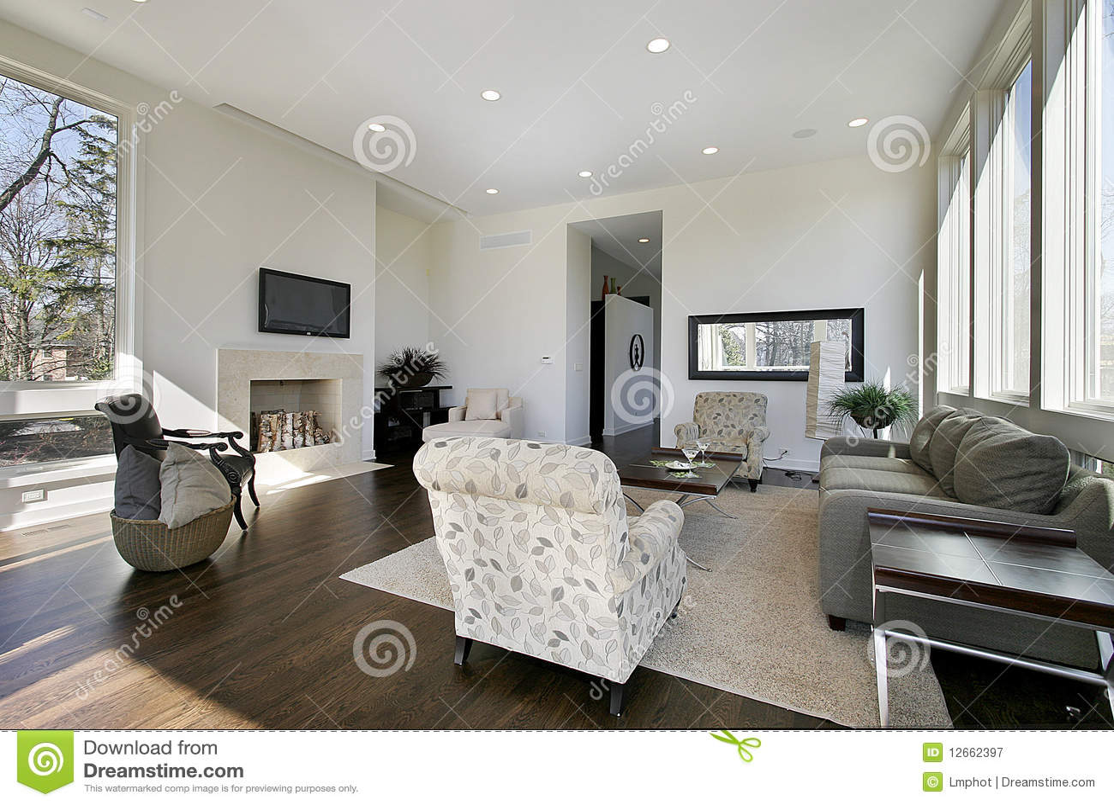 Moderne witte woonkamer stock afbeelding afbeelding bestaande uit echt 12662397 - Deco idee witte woonkamer ...