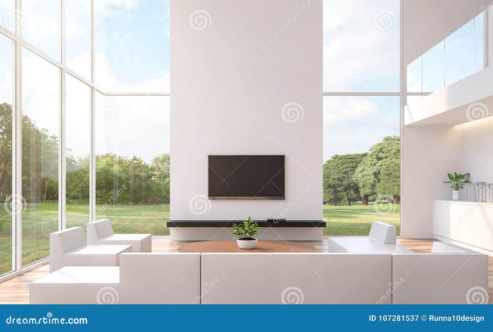 Moderne witte woonkamer met 3d teruggevende beeld van de aardmening