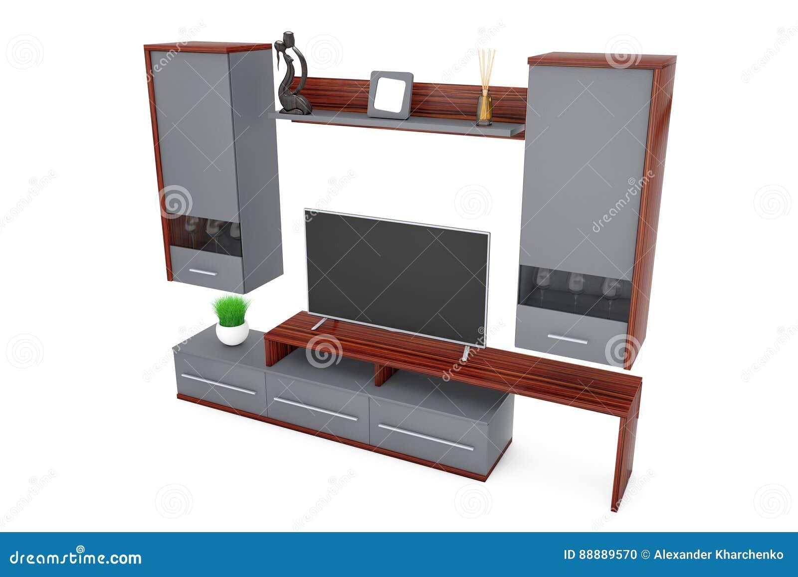 Moderne Wohnzimmer Schrankwand Auf Einem Weißen Hintergrund Wiedergabe 3d
