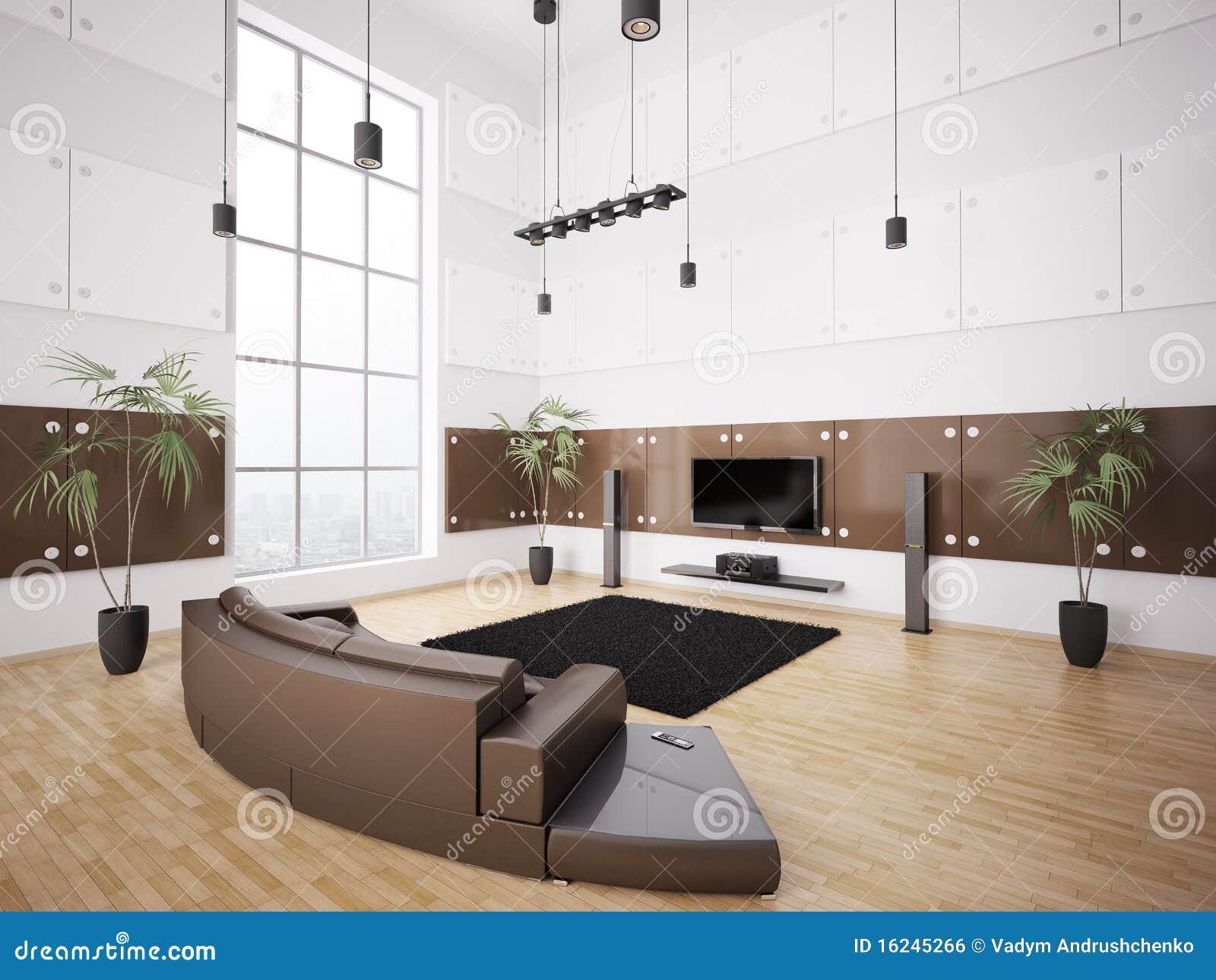 Moderne woonkamer binnenlandse 3d royalty vrije stock - Deco moderne woonkamer ...