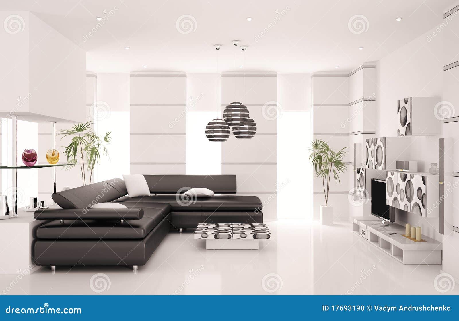 Moderne woonkamer binnenlandse 3d geeft terug stock illustratie afbeelding 17693190 - Foto van moderne woonkamer ...