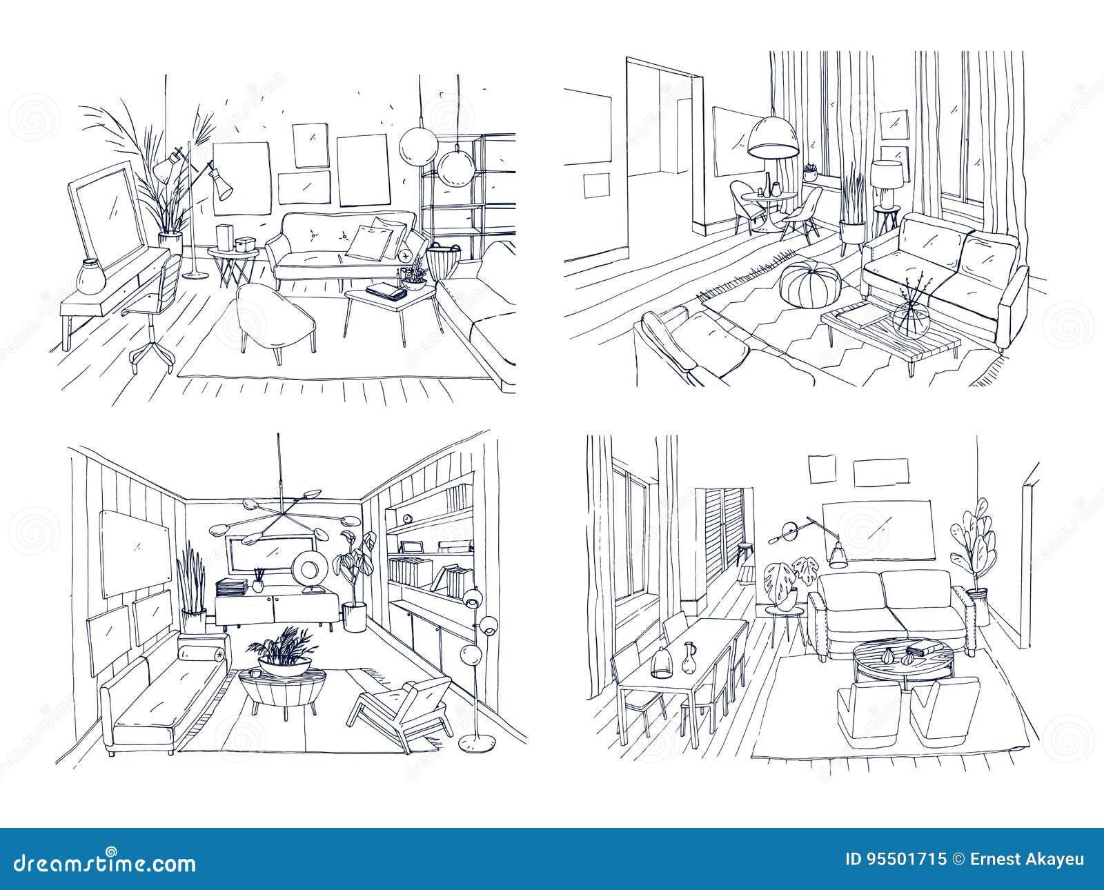 Moderne woonkamer binnenlandse reeks Geleverde woonkamerinzameling Schets van de contour de vectorillustratie op licht