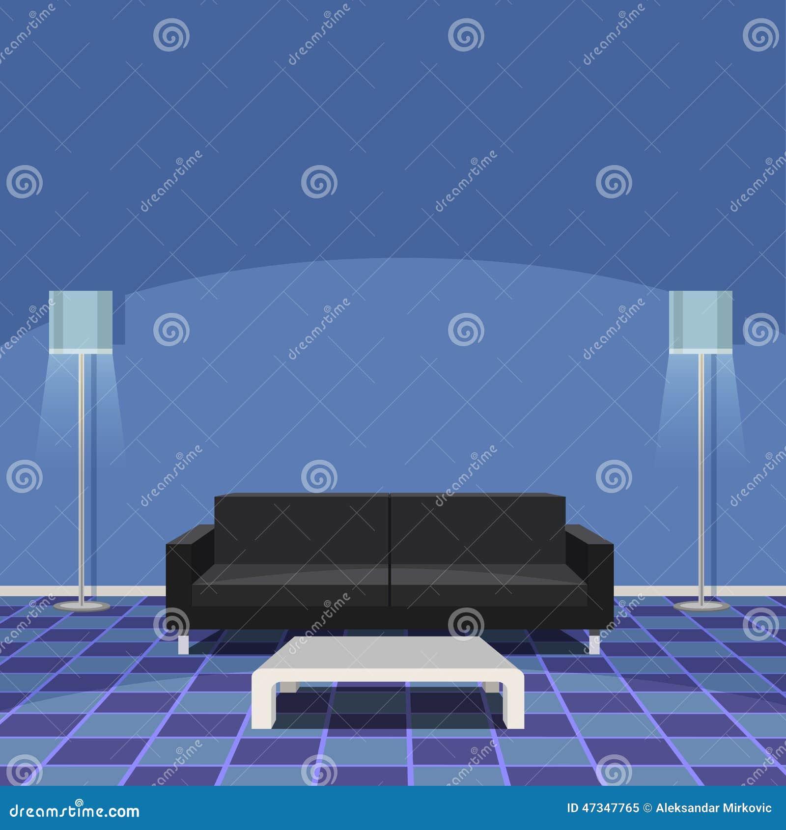 moderne woonkamer blauw vector illustratie beeld 47347765