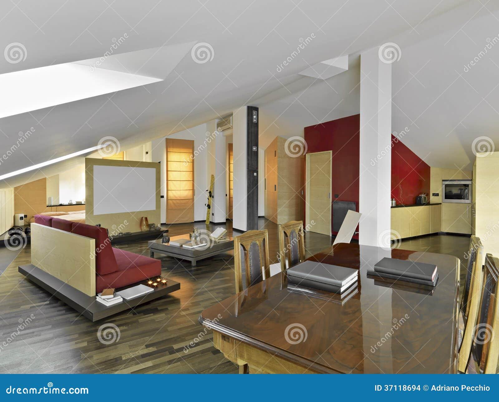Woonkamer Op Zolder : Moderne woonkamer in de zolder stock foto afbeelding bestaande uit