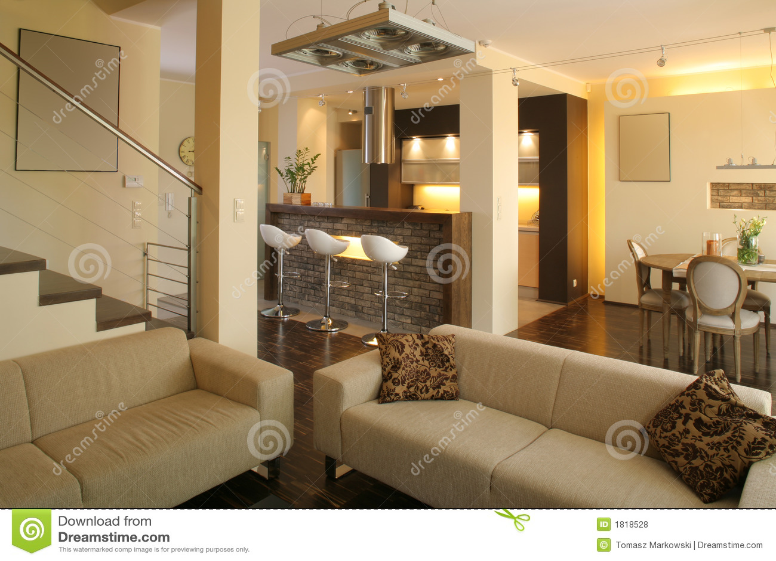 Moderne woonkamer en keuken royalty vrije stock foto 39 s afbeelding 1818528 - Woonkamer en moderne keuken ...