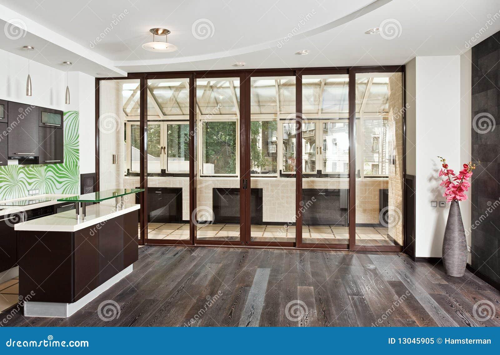 Moderne Woonkamer En Keuken Met Donkere Vloer Stock Afbeelding ...