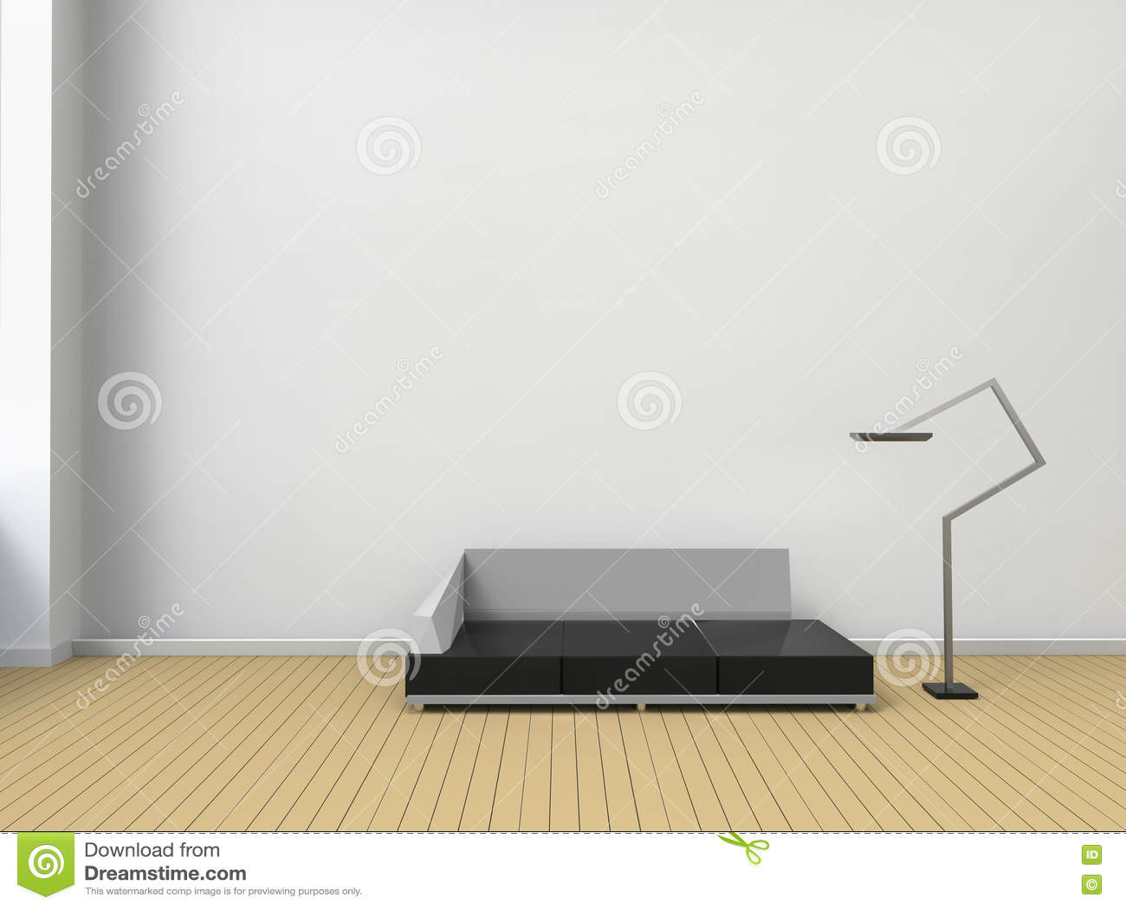 Moderne woonkamer en stoelentijdgenoot in witte muur minimale