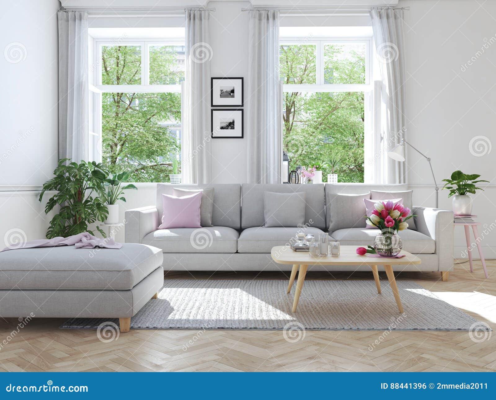 Moderne woonkamer in huis in de stad het d teruggeven stock foto