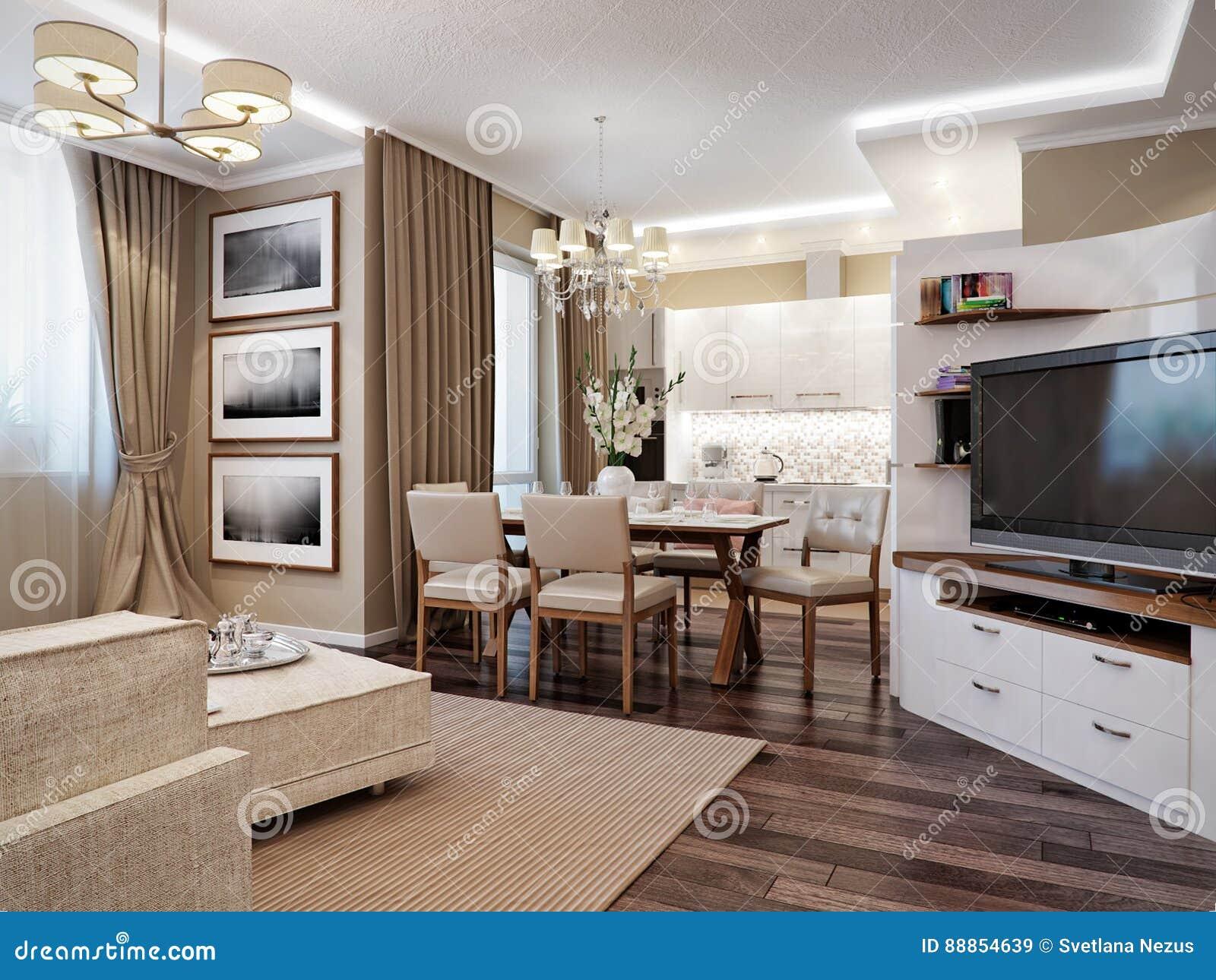 Moderne Woonkamer, Keuken En Eetkamer Stock Illustratie ...