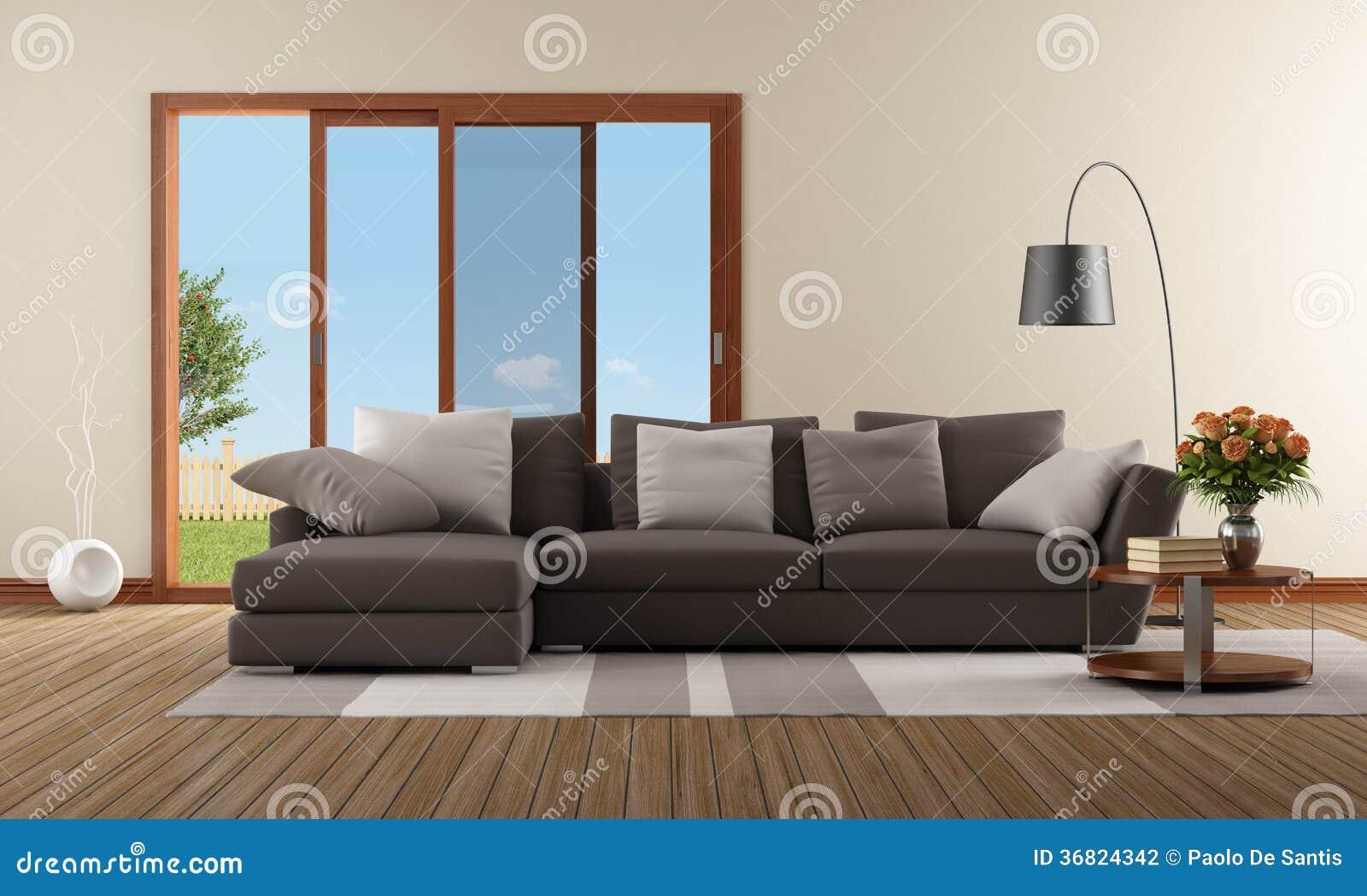 moderne woonkamer met bruine bank stock illustratie afbeelding 36824342. Black Bedroom Furniture Sets. Home Design Ideas