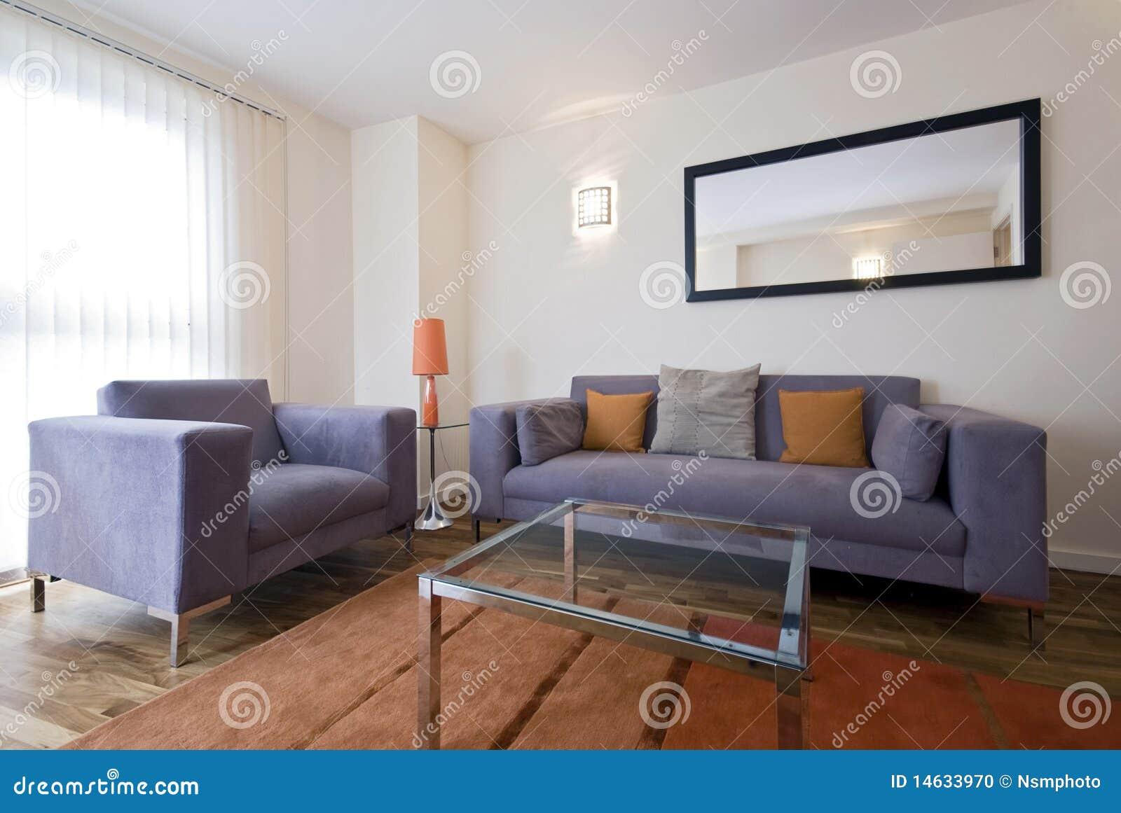 Woonkamer Grijze Bank : Modern en minimalistisch interieur van woonkamer gezellige kamer