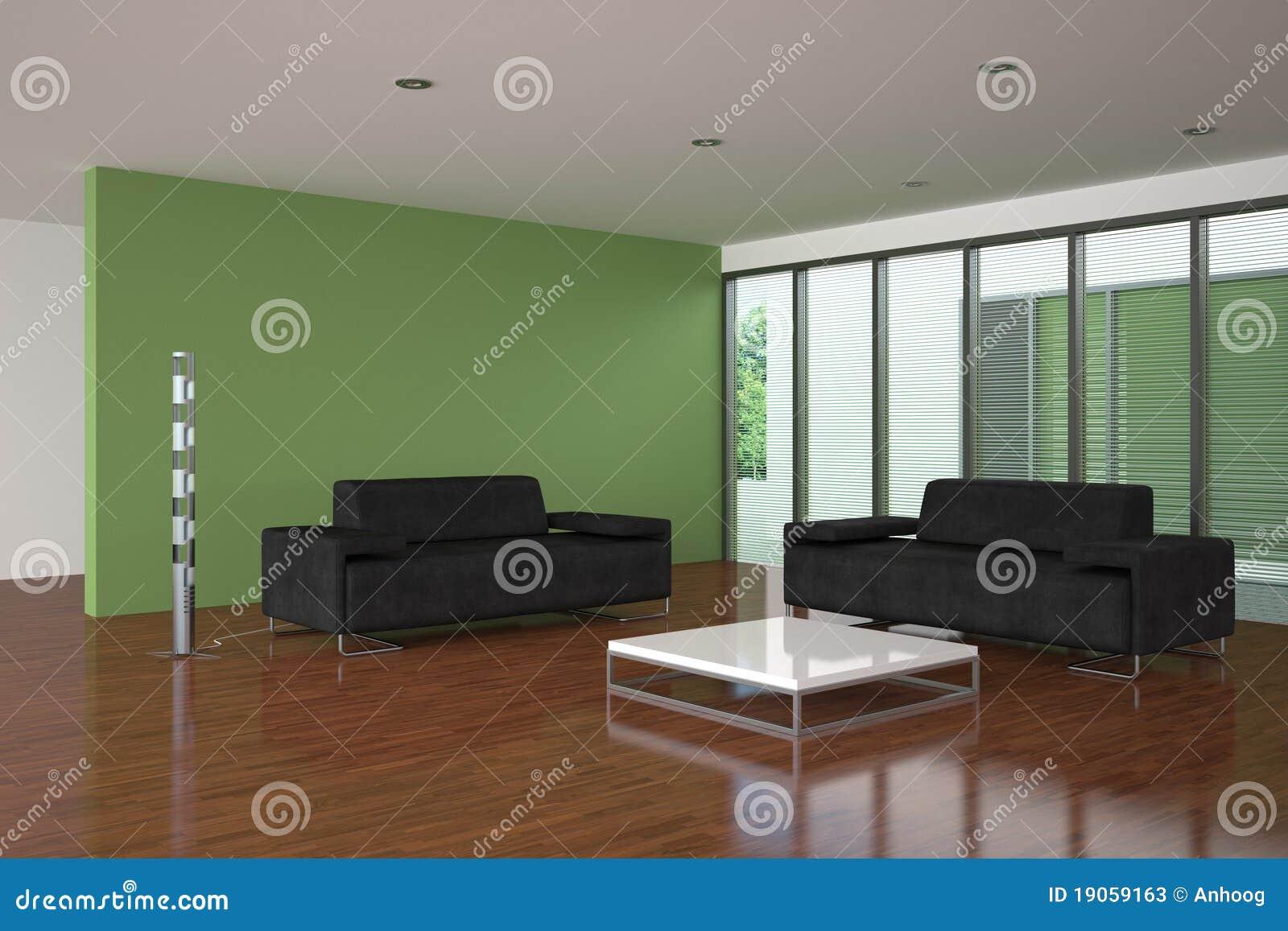 Moderne woonkamer met groene muur stock foto 39 s afbeelding 19059163 - Fotos van moderne woonkamer ...