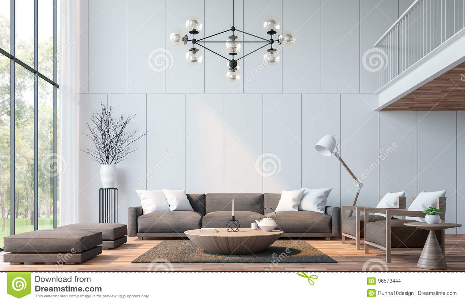 Koraalkleur De Woonkamer : Moderne woonkamer met mezzanine d teruggevend beeld stock