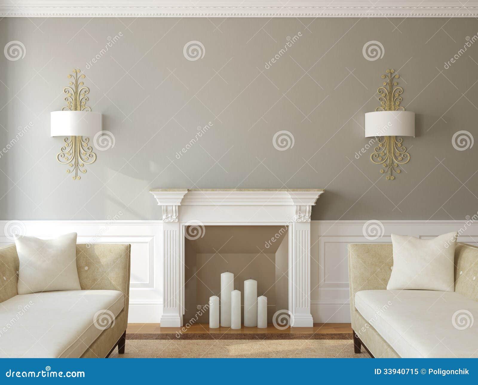 Moderne woonkamer met open haard. royalty vrije stock foto ...